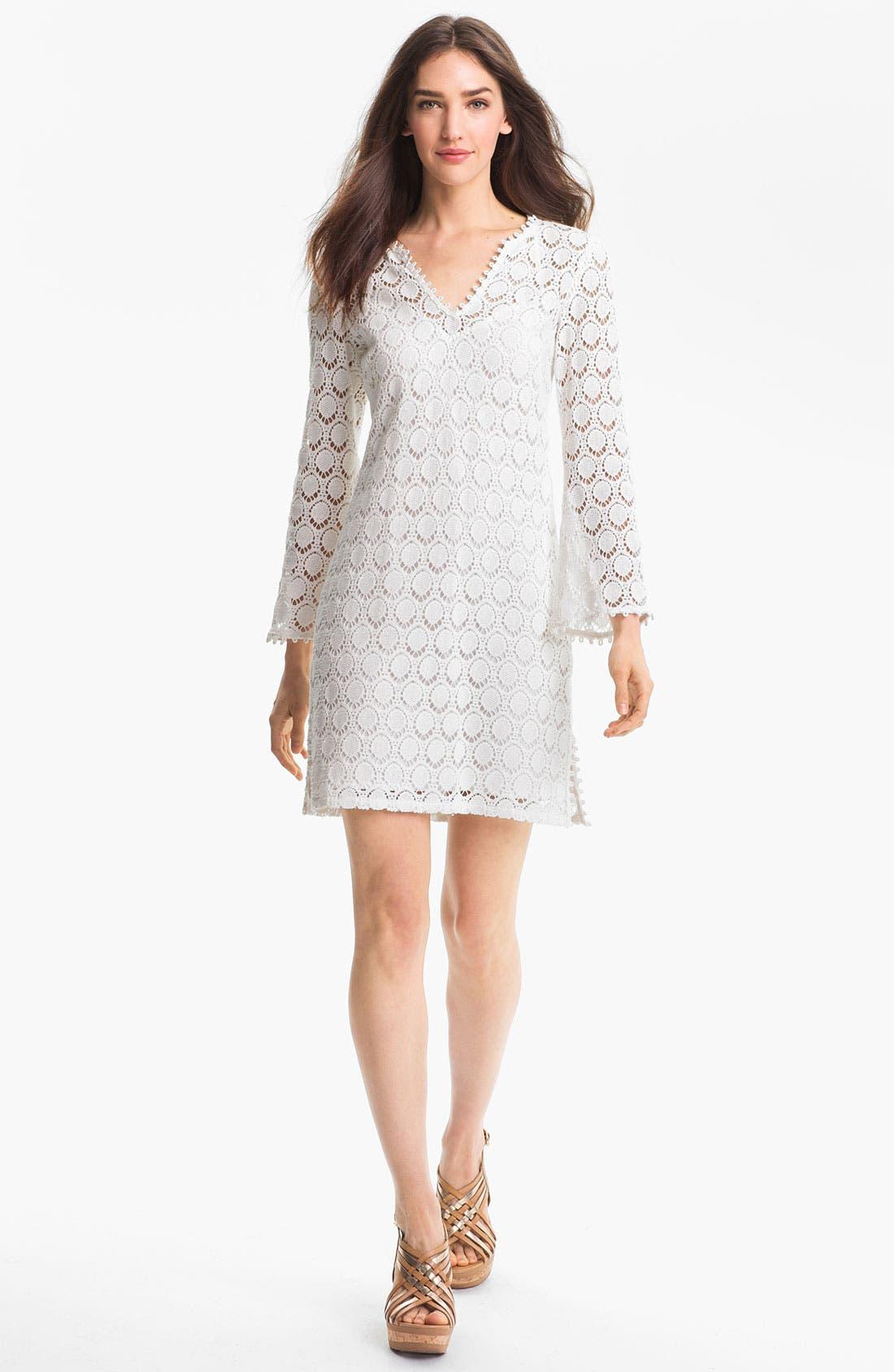 Alternate Image 1 Selected - Trina Turk 'Deep Sea' Lace Cotton Shift Dress