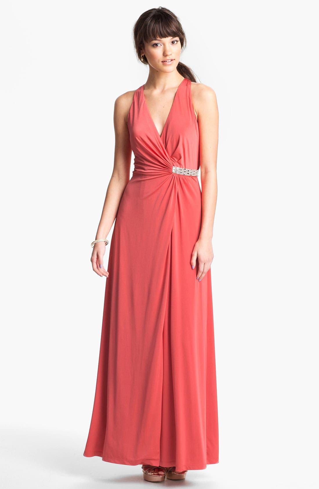 Main Image - Calvin Klein Embellished V-Neck Draped Jersey Gown