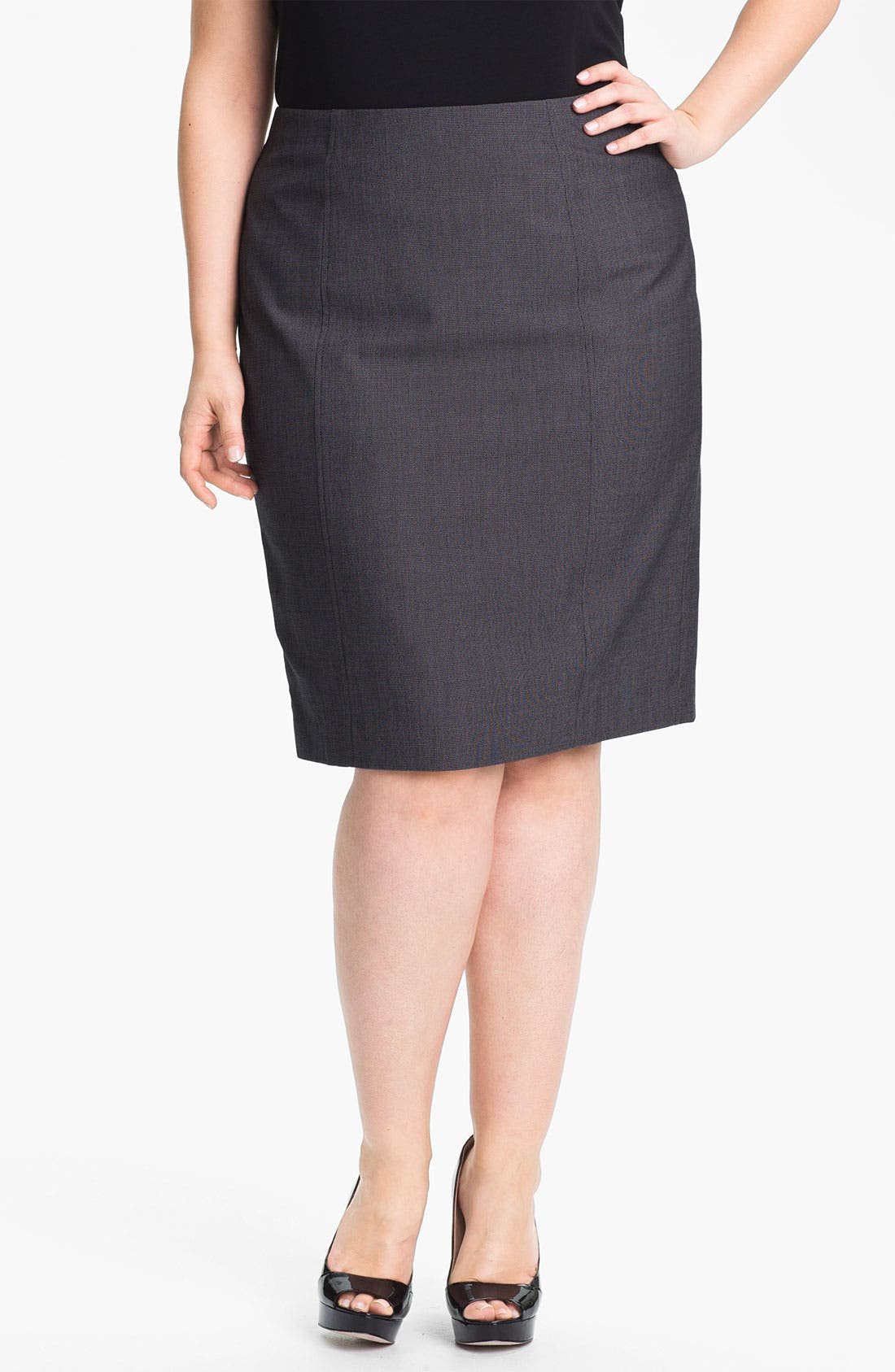 Alternate Image 1 Selected - Sejour 'Zola' Twill Suit Skirt (Plus Size)