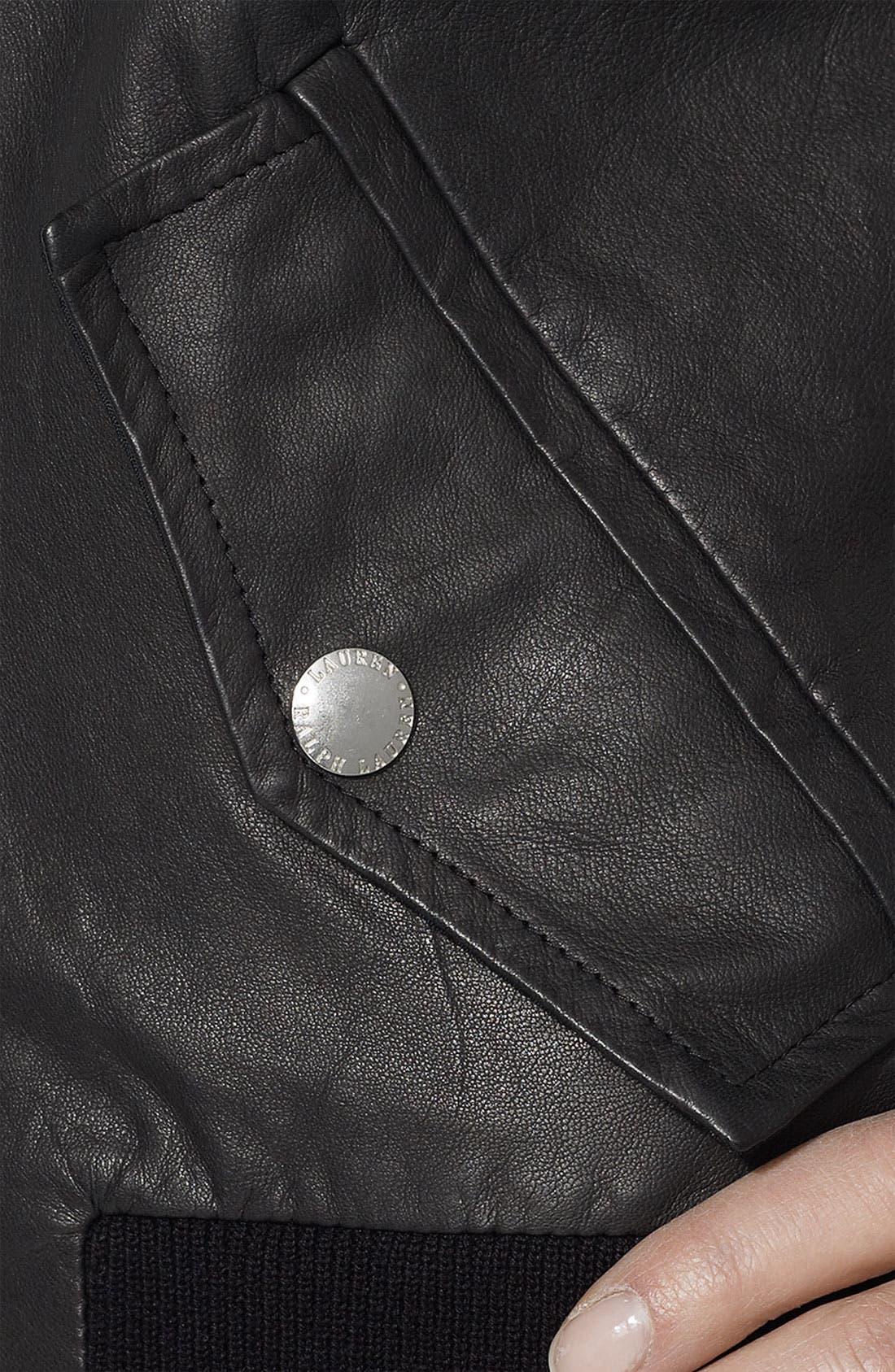 Alternate Image 3  - Lauren Ralph Lauren Leather Front Cardigan