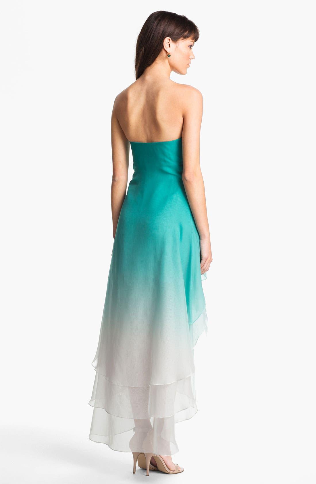 Alternate Image 2  - La Femme Ombré Strapless High/Low Chiffon Gown