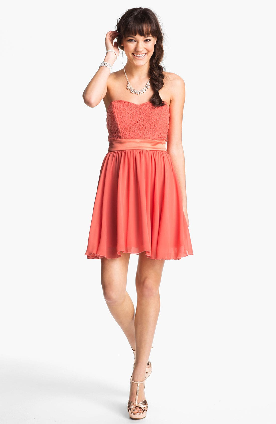 Main Image - Trixxi Lace & Chiffon Strapless Party Dress (Juniors)