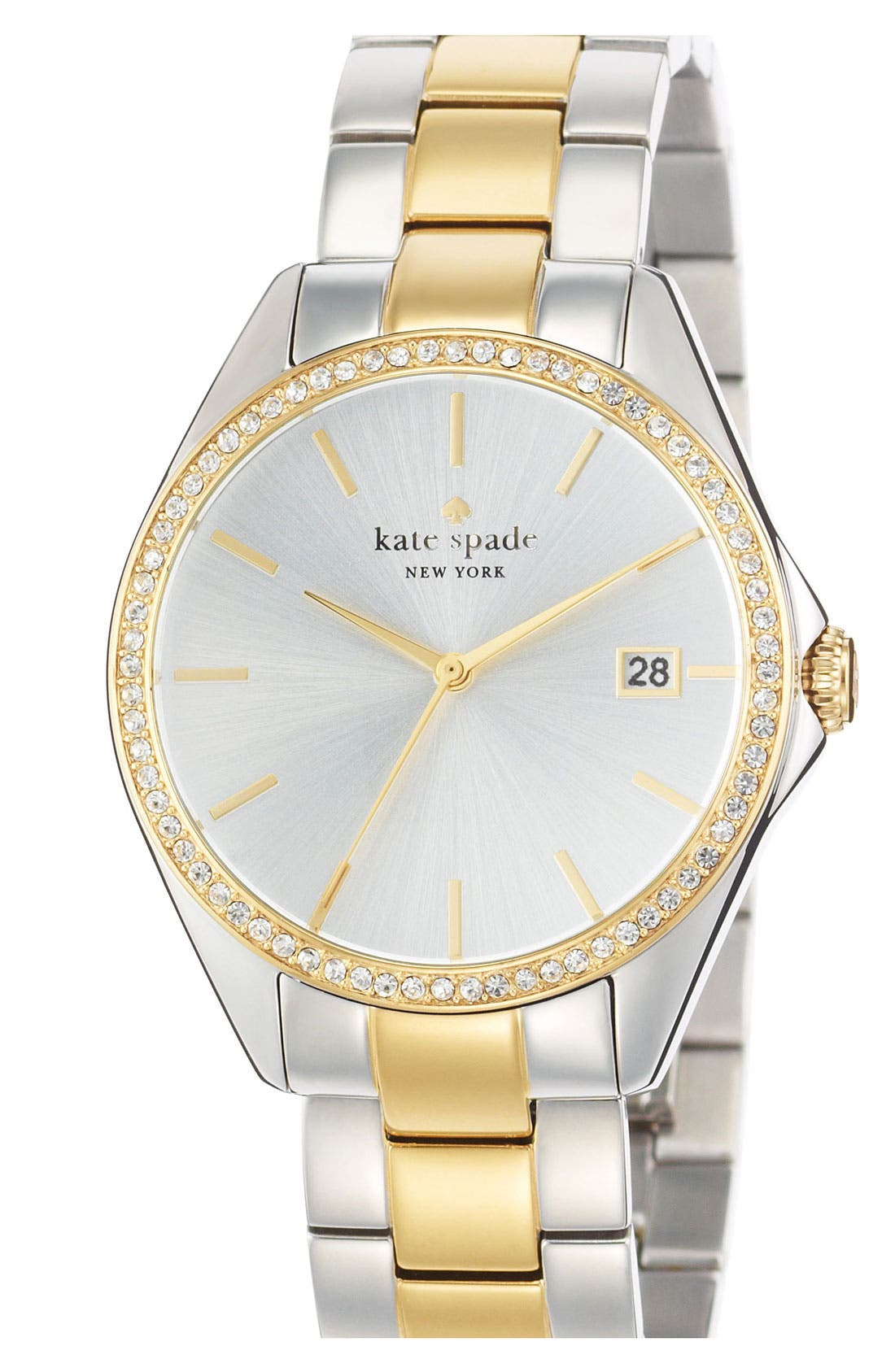 Main Image - kate spade new york 'seaport grand' crystal bracelet watch, 38mm