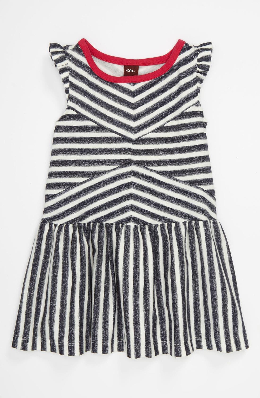 Main Image - Tea Collection 'Zebra Stripe' Flutter Dress (Infant)