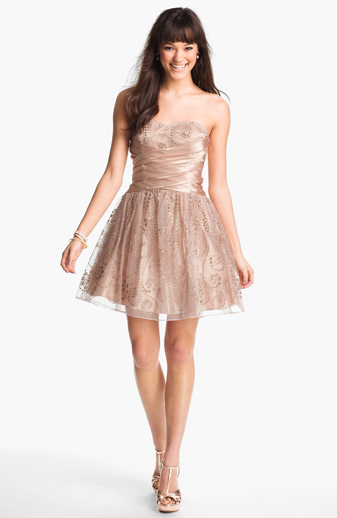 Alternate Image 1 Selected - Hailey Logan Satin & Glitter Chiffon Party Dress (Juniors) (Online Only)