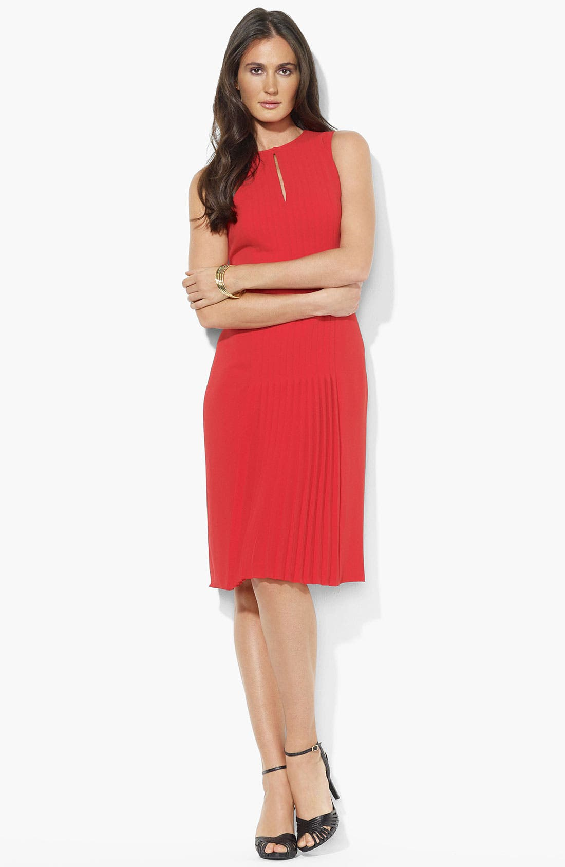 Main Image - Lauren Ralph Lauren Pleated Sleeveless Dress (Petite)