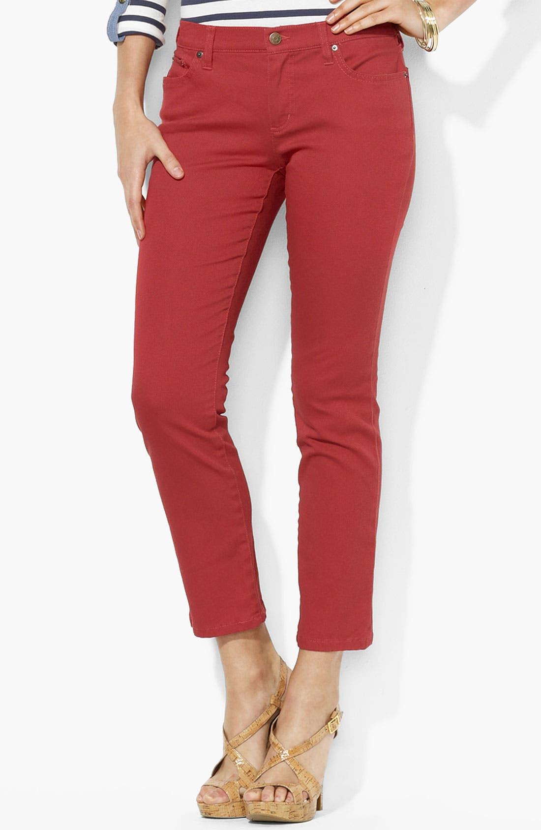 Main Image - Lauren Ralph Lauren Modern Straight Leg Ankle Pants (Petite) (Online Only)