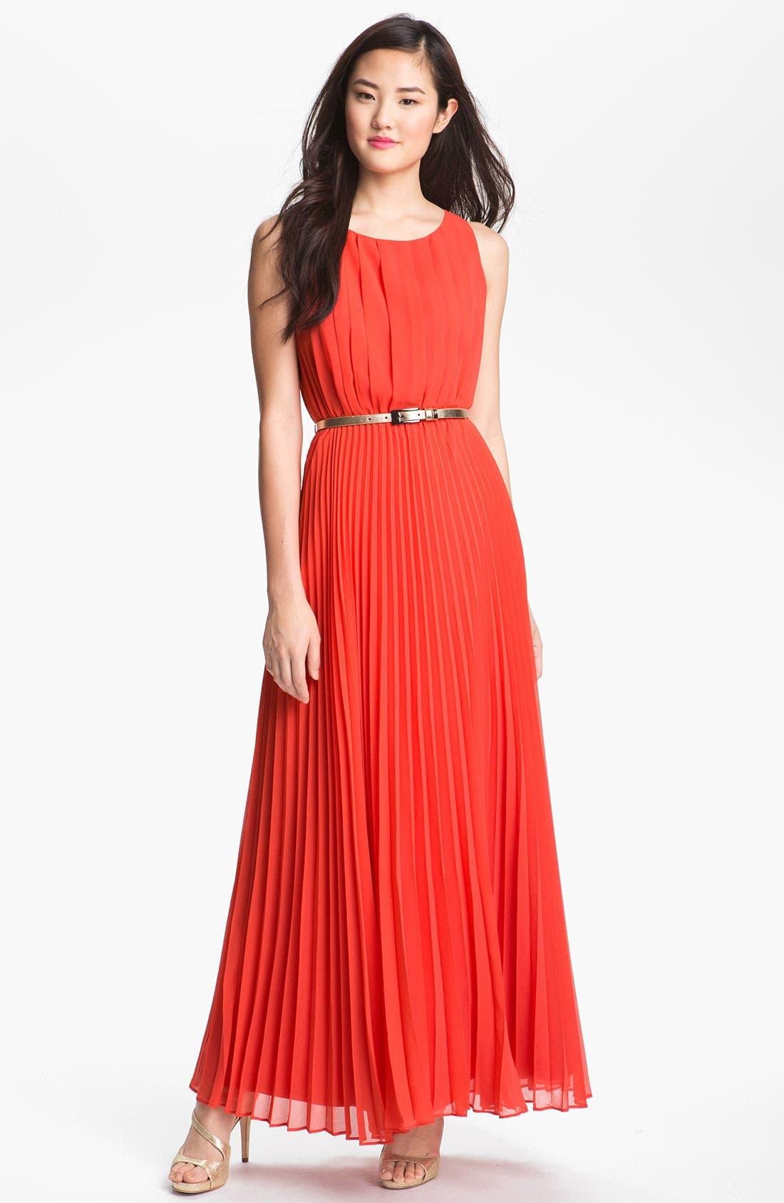 Alternate Image 1 Selected - Eliza J Pleated Chiffon Maxi Dress (Regular & Petite)