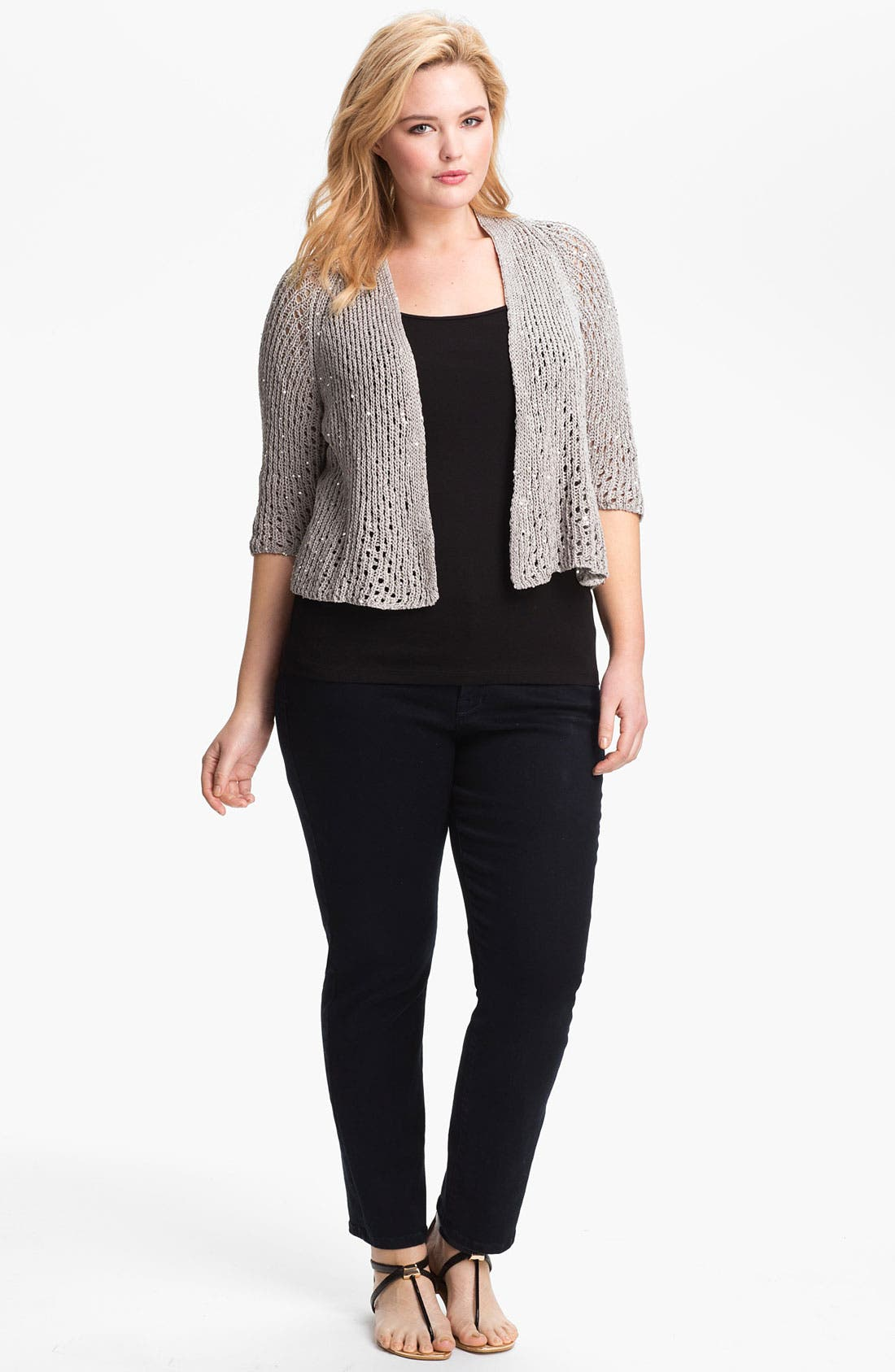 Alternate Image 2  - Eileen Fisher Sequin Crop Cardigan (Plus Size)
