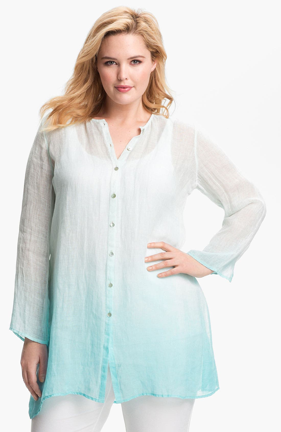 Main Image - Eileen Fisher Ombré Linen Tunic (Plus Size)
