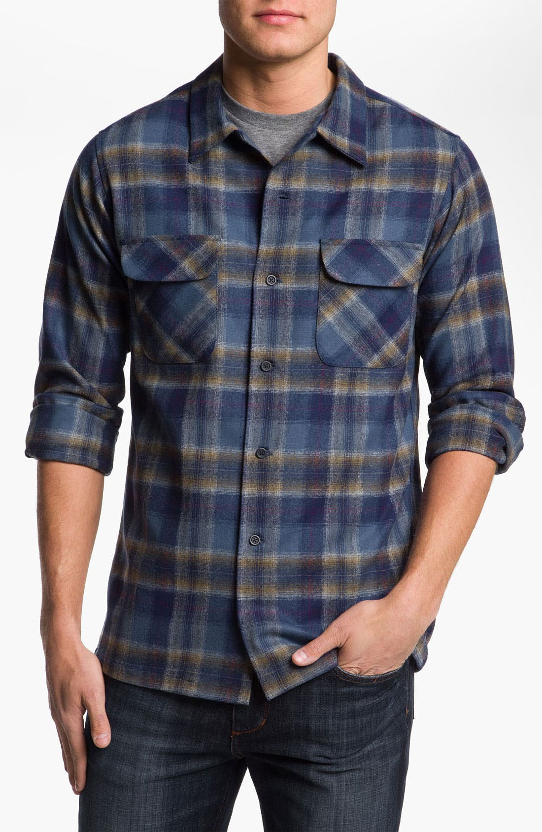 Alternate Image 1 Selected - Pendleton 'Board' Fitted Plaid Wool Flannel Shirt