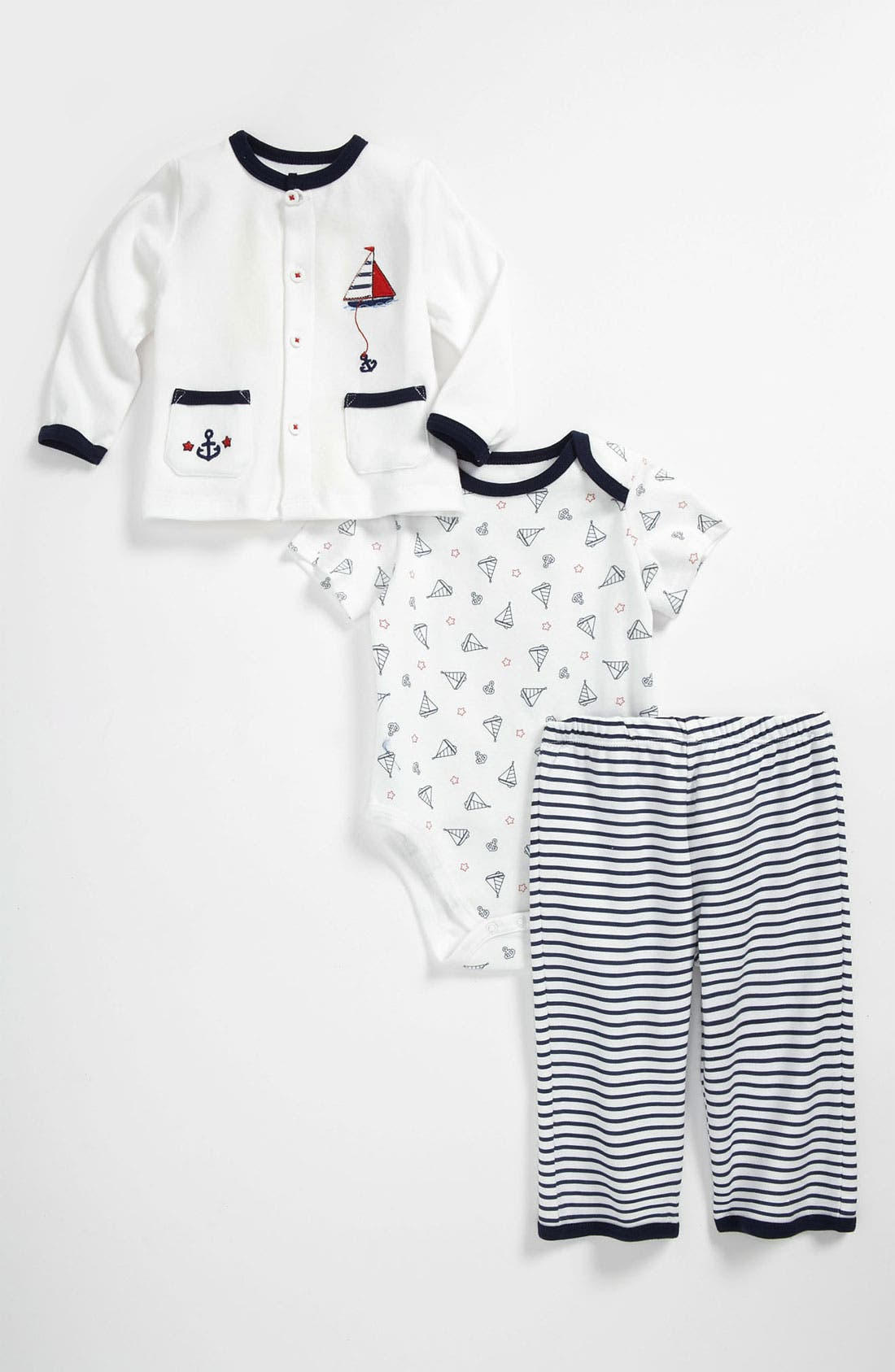 Main Image - Little Me 'Take Me Home - Set Sail' Bodysuit, Cardigan & Pants (Baby)