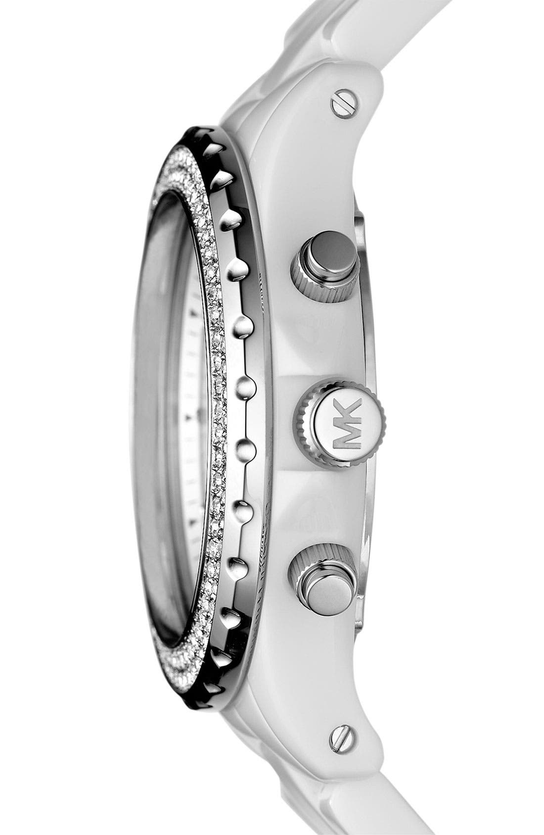 Michael Kors 'Madison' Twin Row Crystal Chronograph Watch, 42mm,                             Alternate thumbnail 4, color,                             Silver/ White