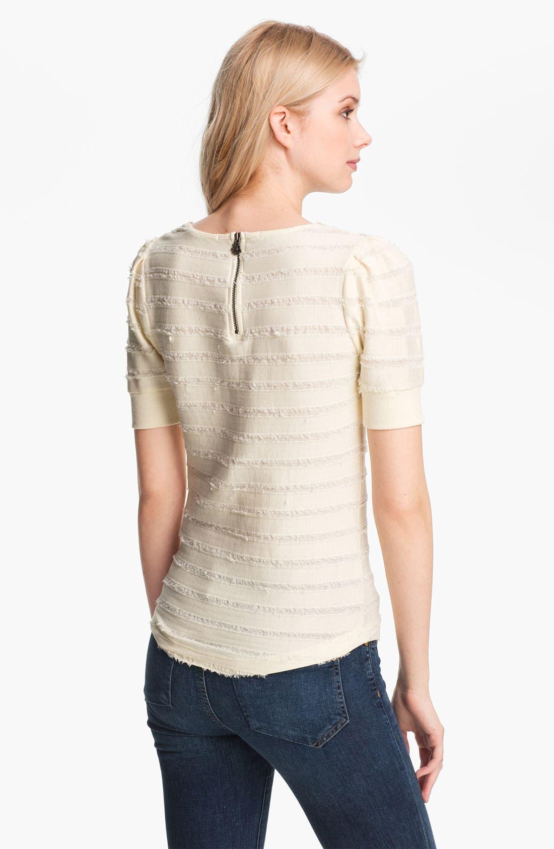 Alternate Image 2  - Maison Scotch Appliqué Bib Fringe Stripe Sweatshirt
