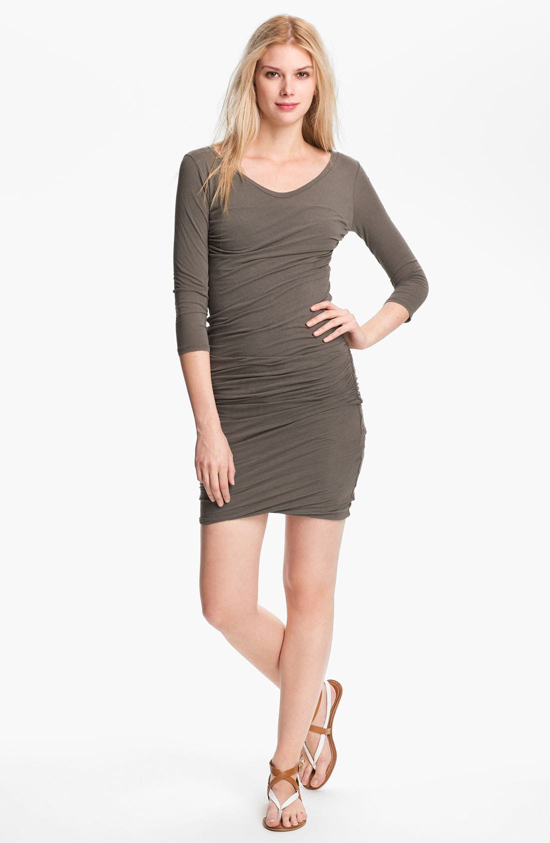 Main Image - James Perse Ruched V-Neck Dress