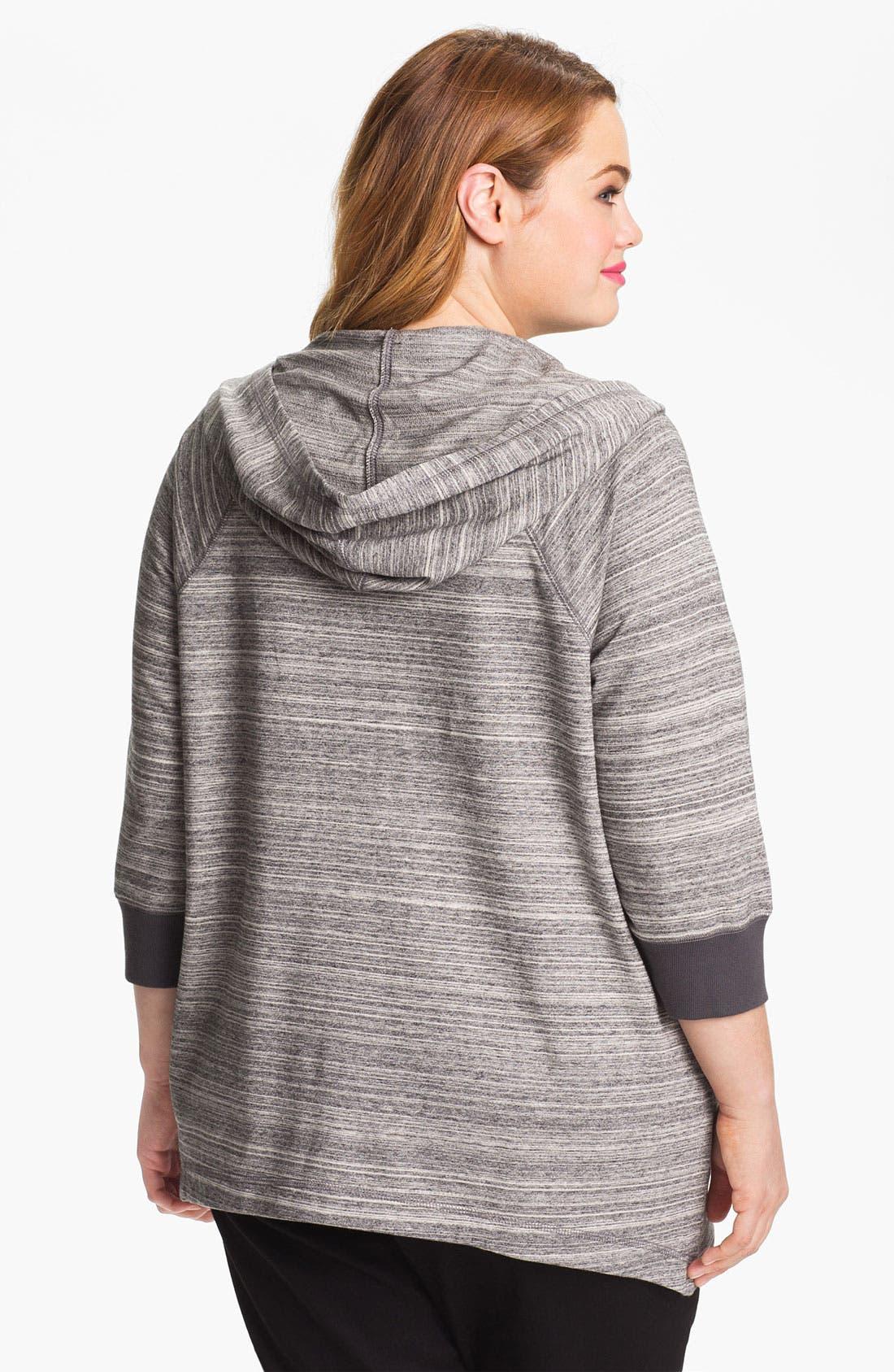 Alternate Image 2  - Sejour Zip Front Cotton Hoodie (Plus)