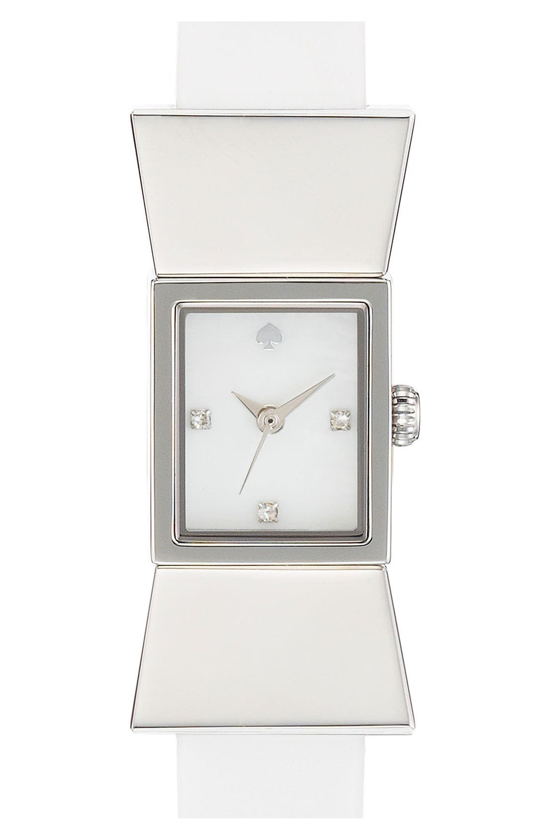 Alternate Image 1 Selected - kate spade new york square leather strap watch, 18mm x 39mm
