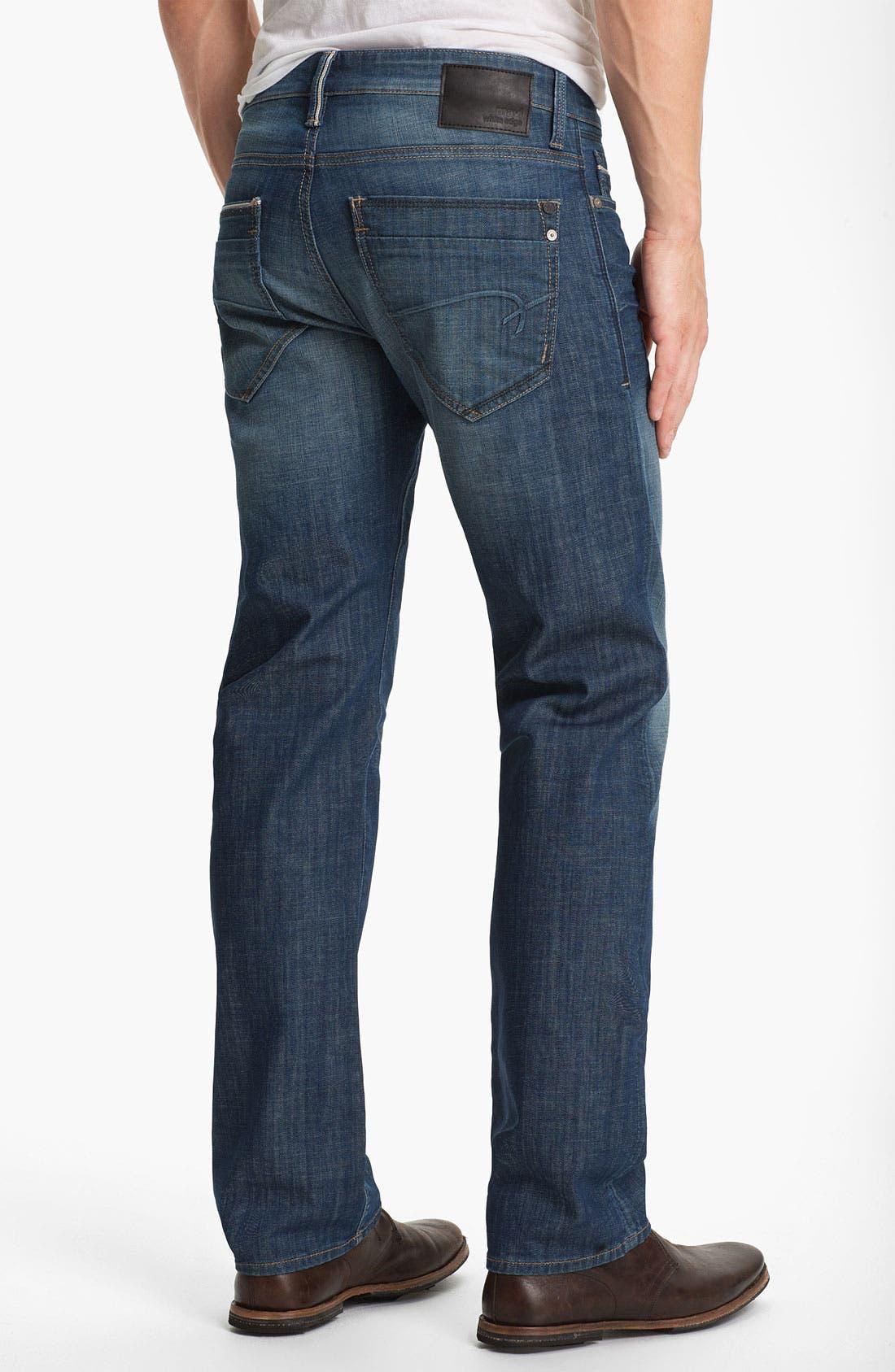 Main Image - Mavi Jeans 'Zach' Straight Leg Jeans (Mid White Edge)