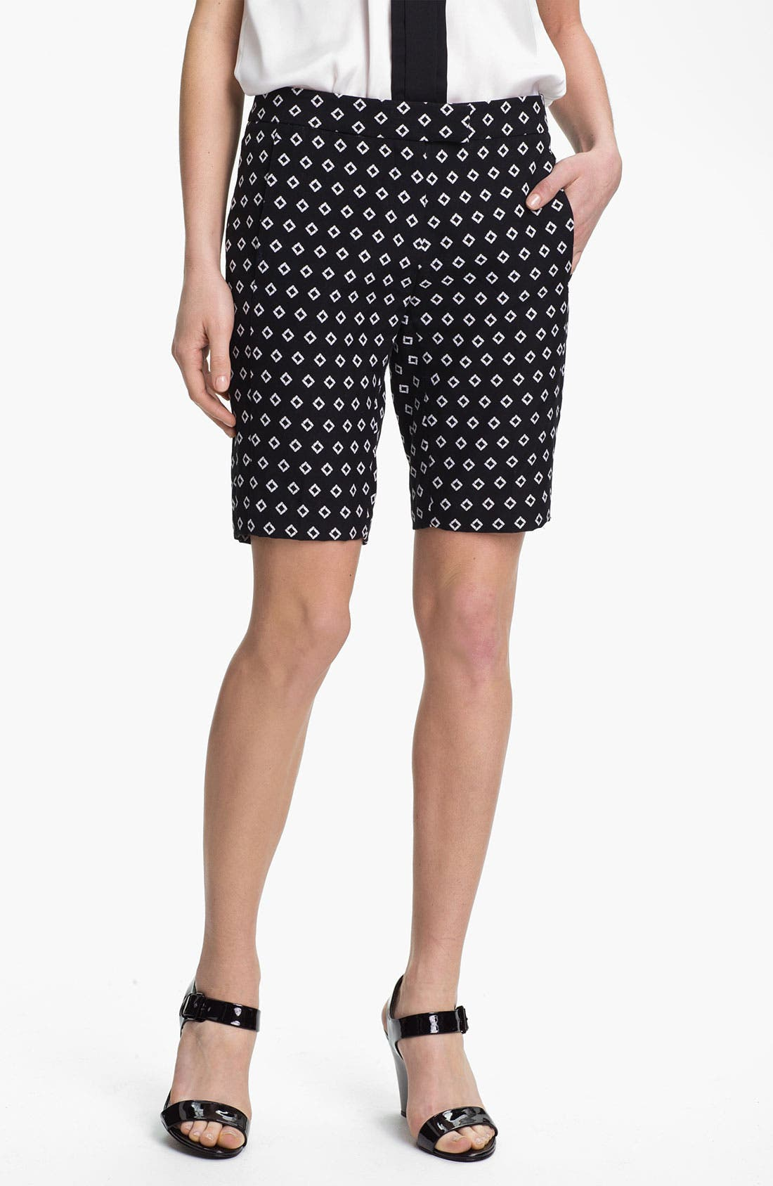 Diamond Jacquard Bermuda Shorts,                         Main,                         color, Rich Black