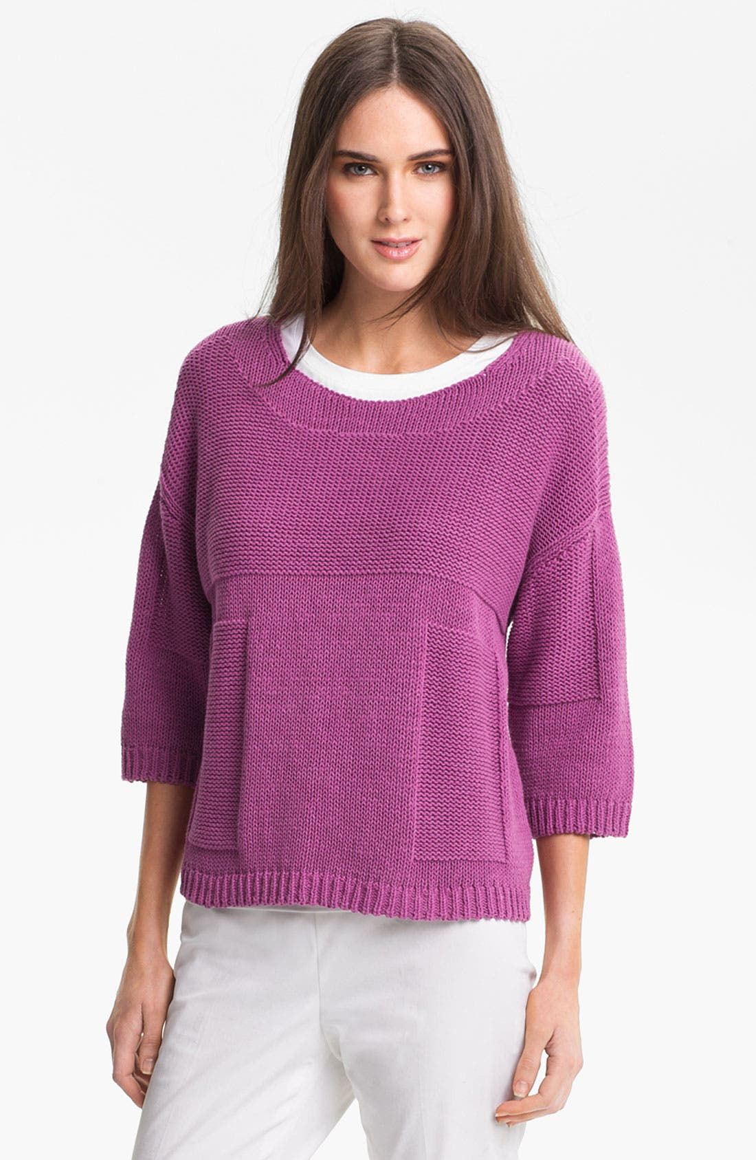 Main Image - Lafayette 148 New York 'Essential' Cotton Blend Sweater