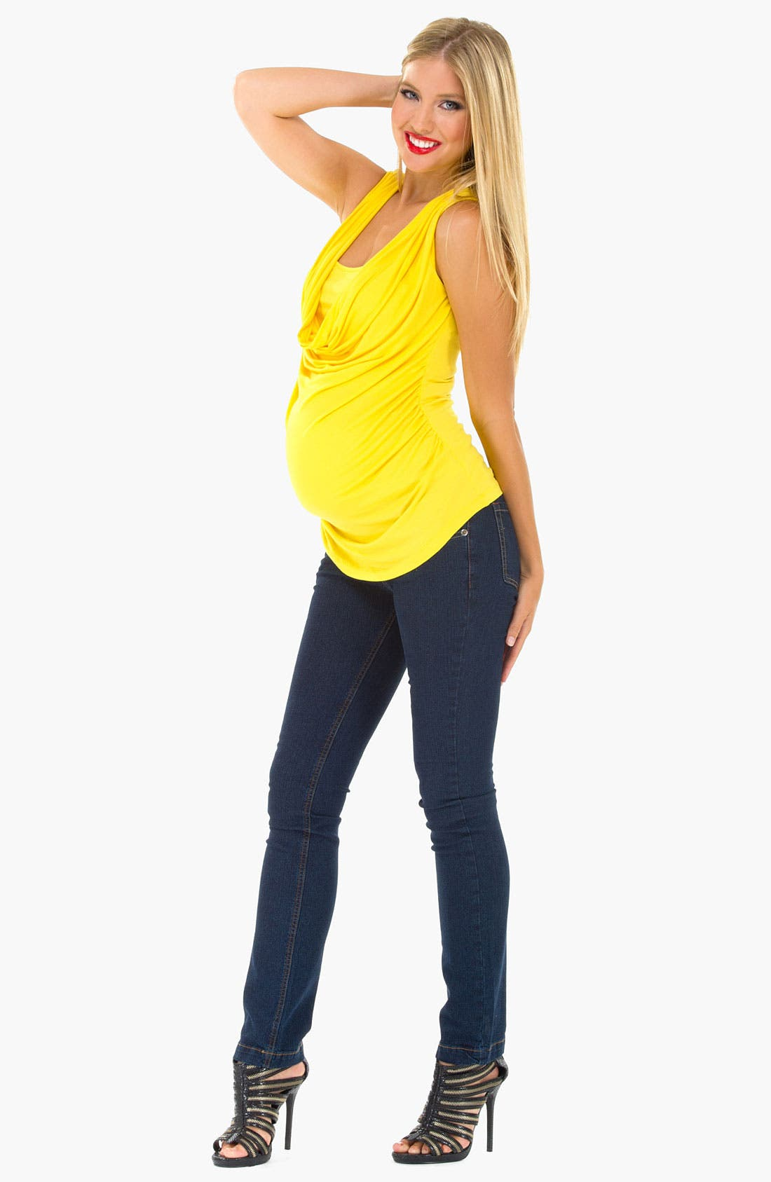 Alternate Image 2  - Olian Cowl Neck Sleeveless Maternity Top