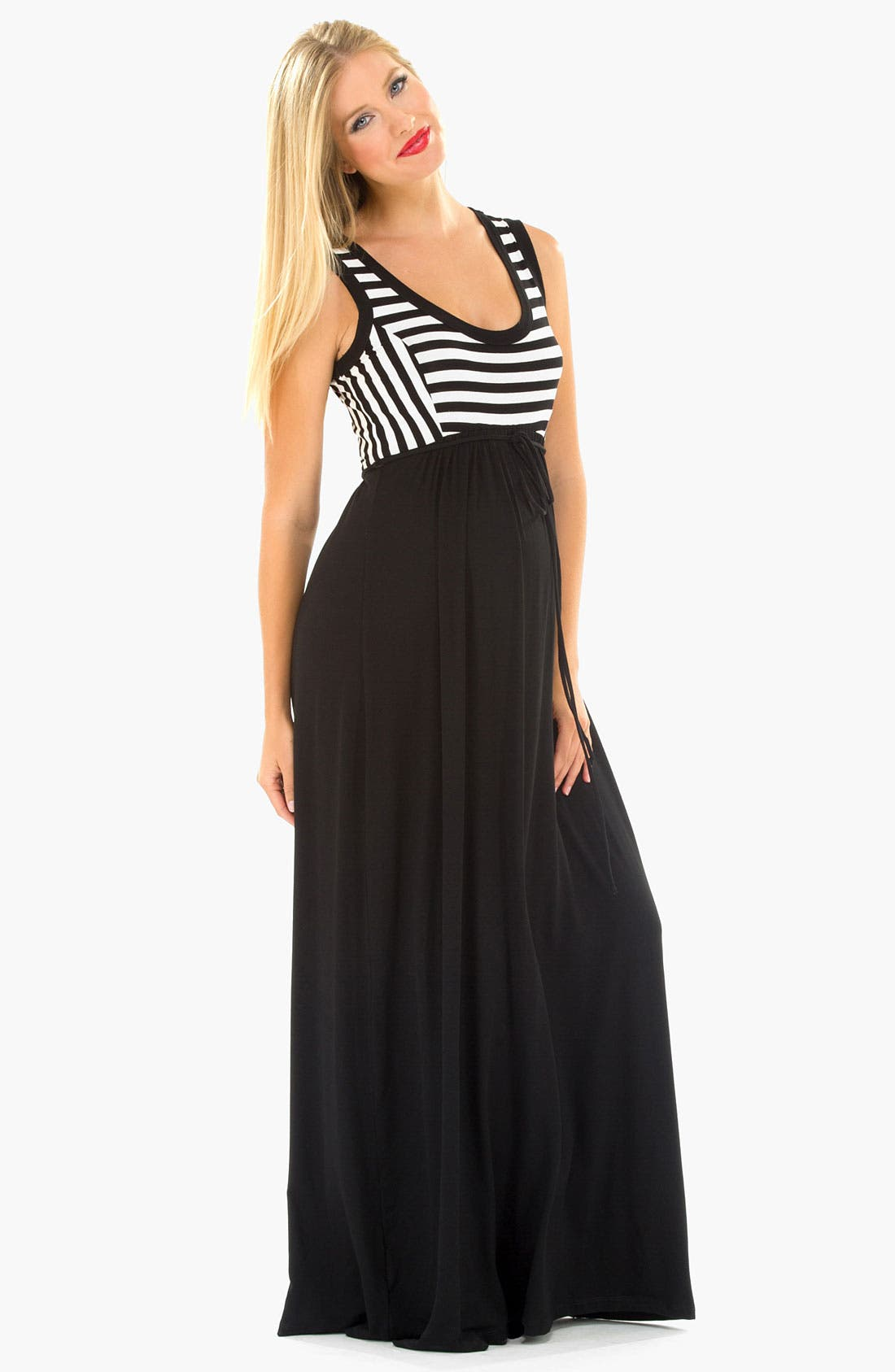 Alternate Image 2  - Olian Stripe Knit Maternity Maxi Dress