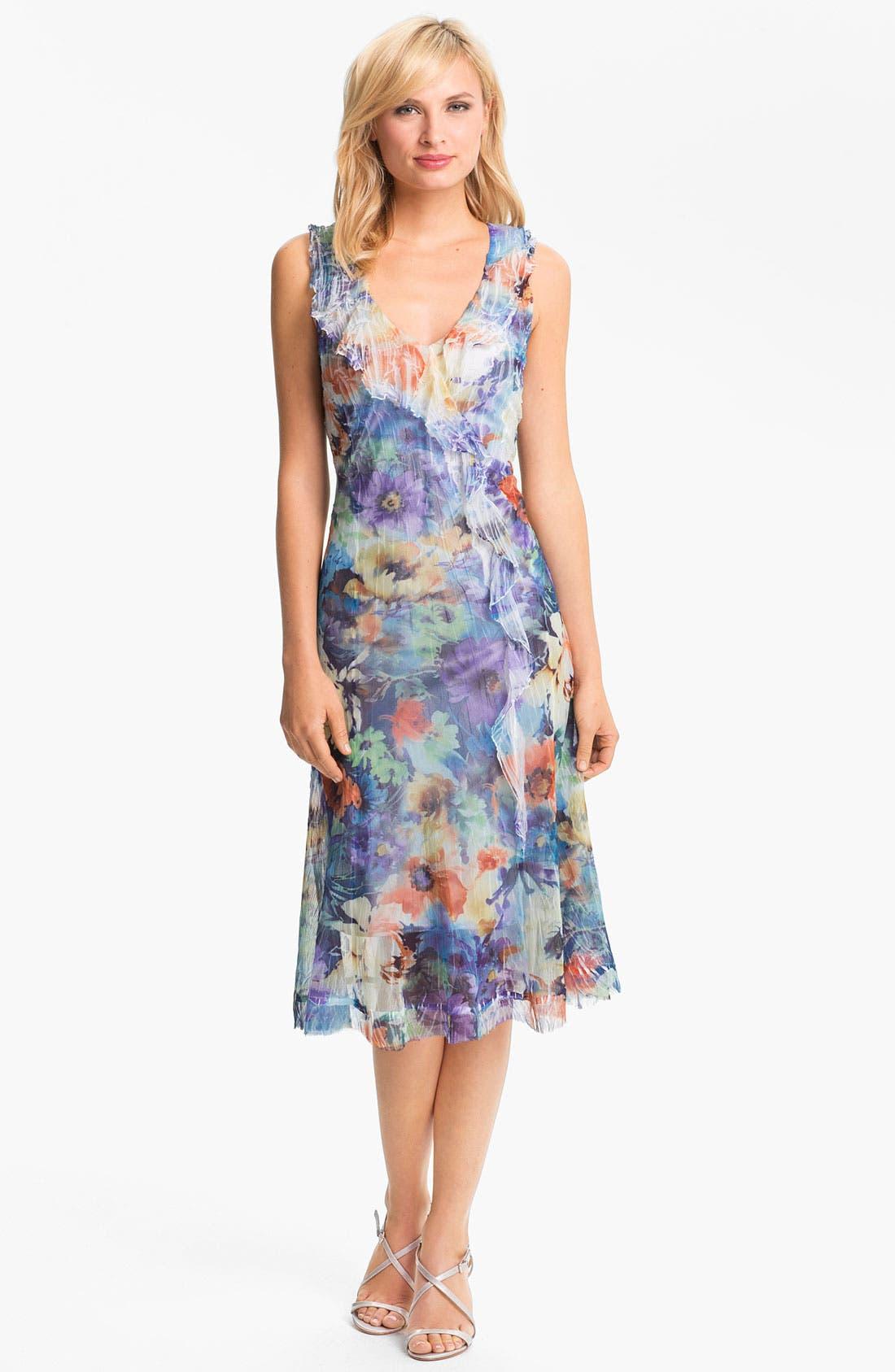 Alternate Image 1 Selected - Komarov Ruffled Print Chiffon Dress