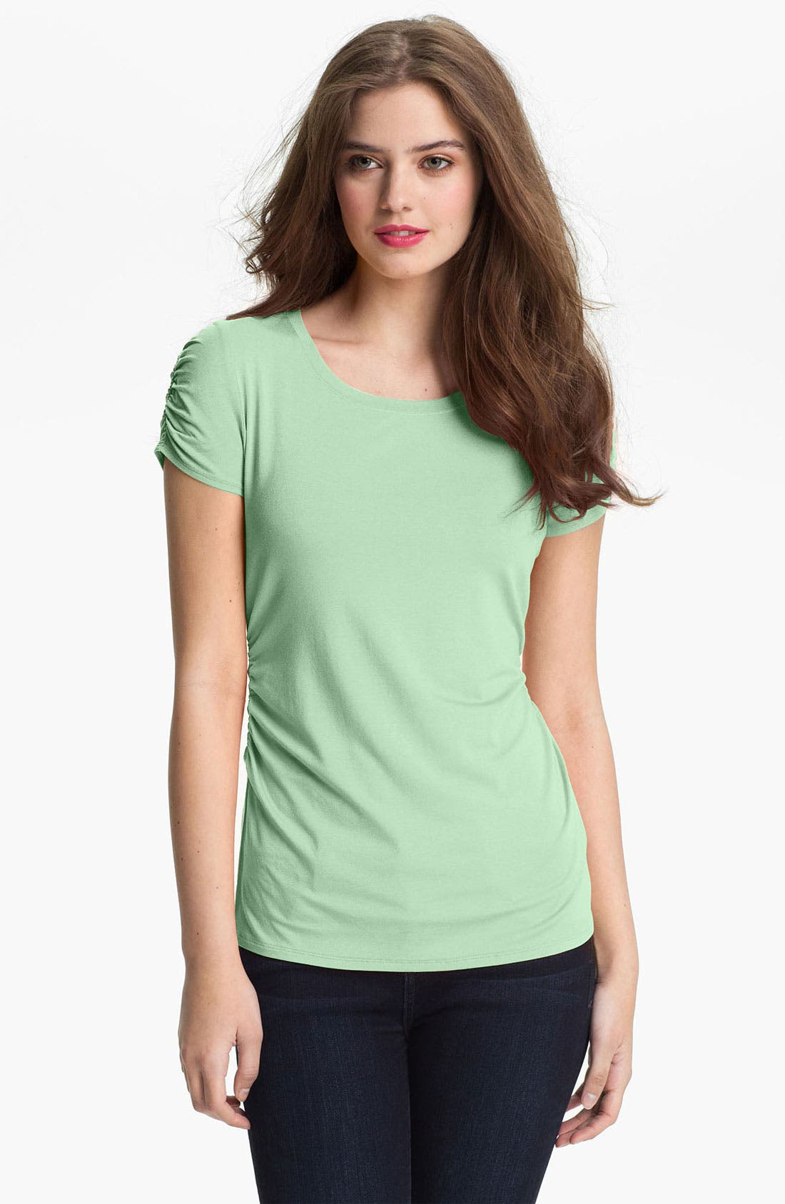 Alternate Image 1 Selected - Vince Camuto Ruched Scoop Neck Top