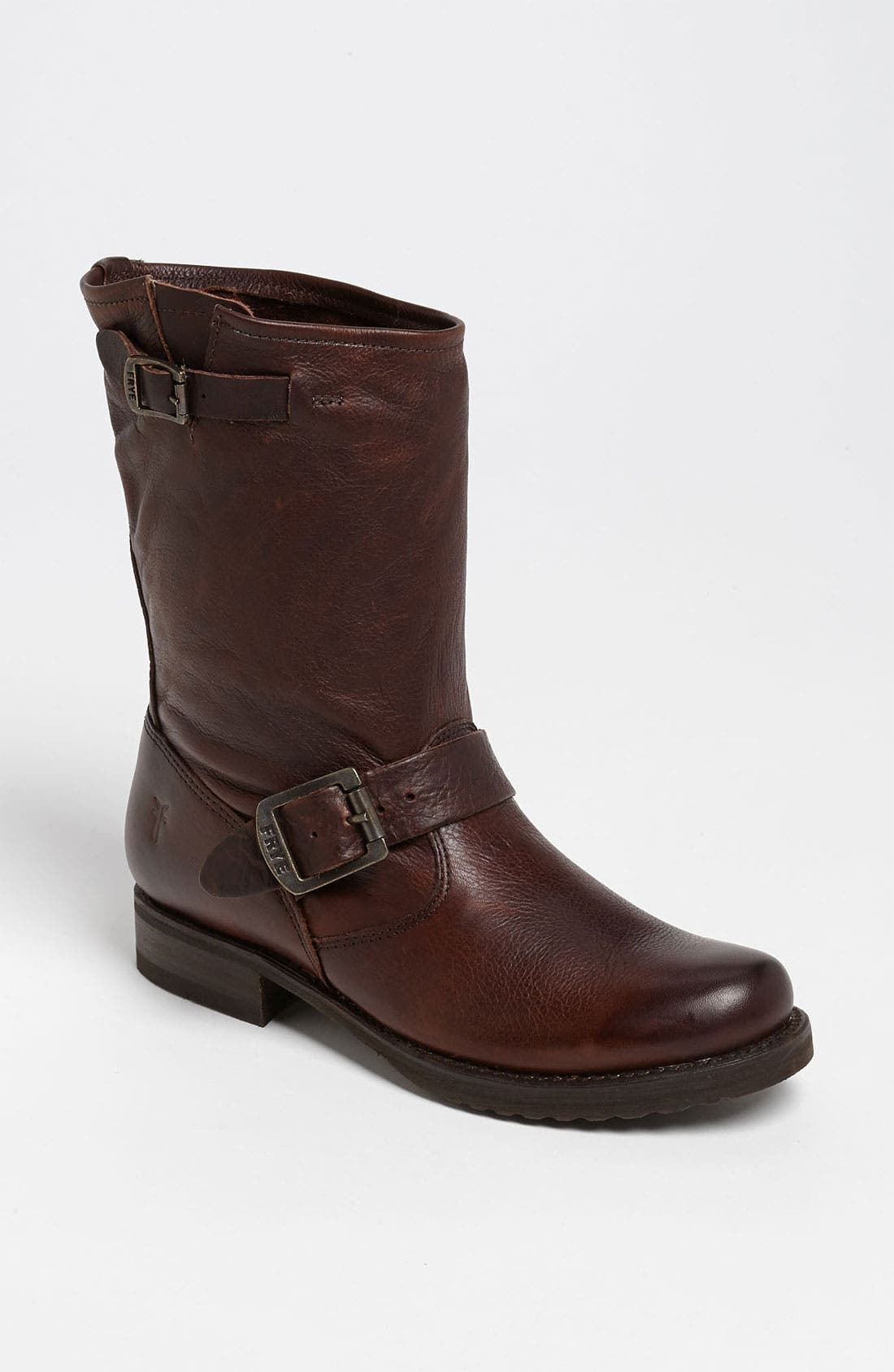 'Veronica Short' Slouchy Boot,                             Main thumbnail 1, color,                             Dark Brown Leather