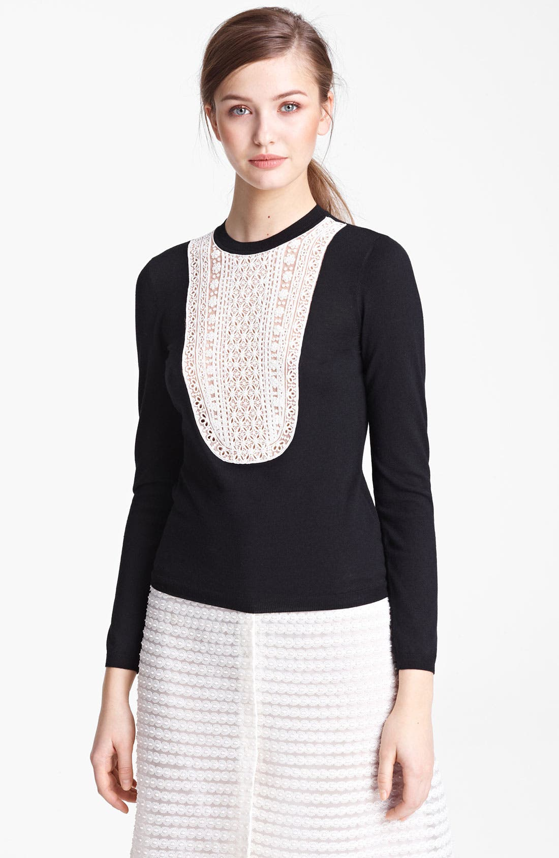 Alternate Image 1 Selected - Valentino Embroidered Bib Knit Top