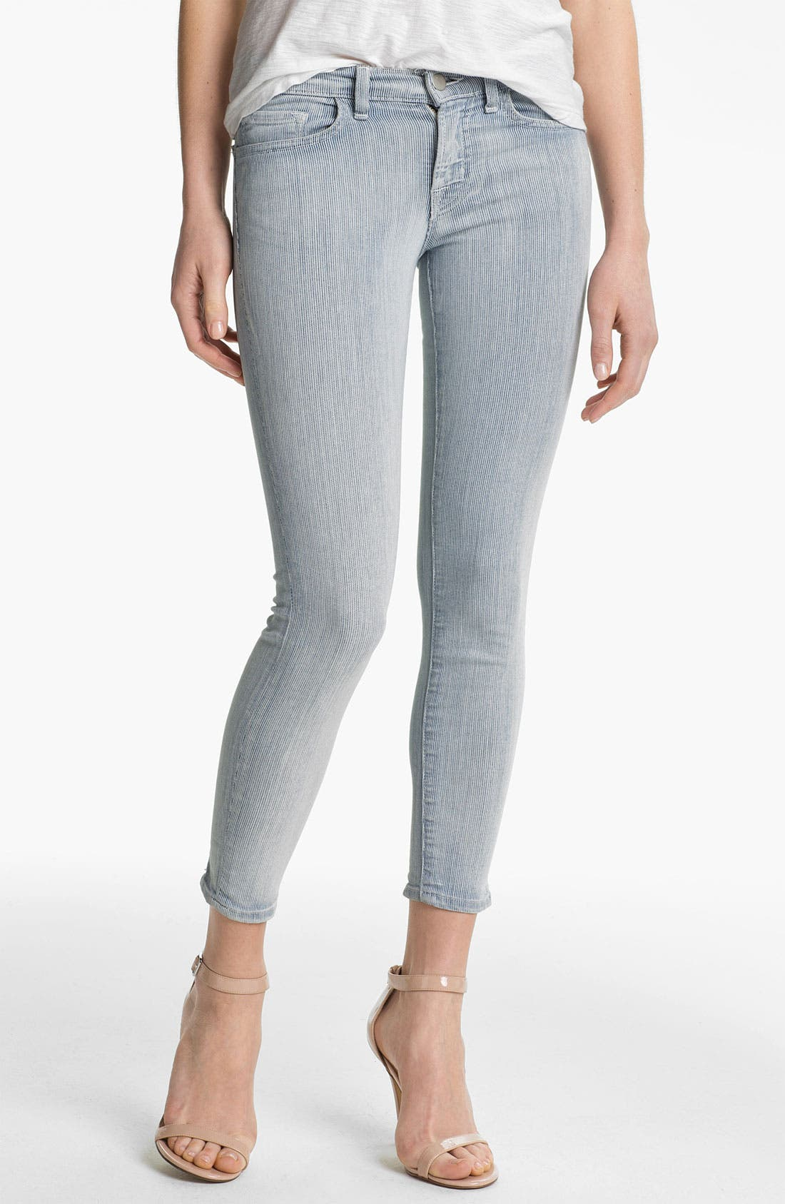 Alternate Image 1 Selected - J Brand Stripe Zip Ankle Skinny Jeans (Tracks)