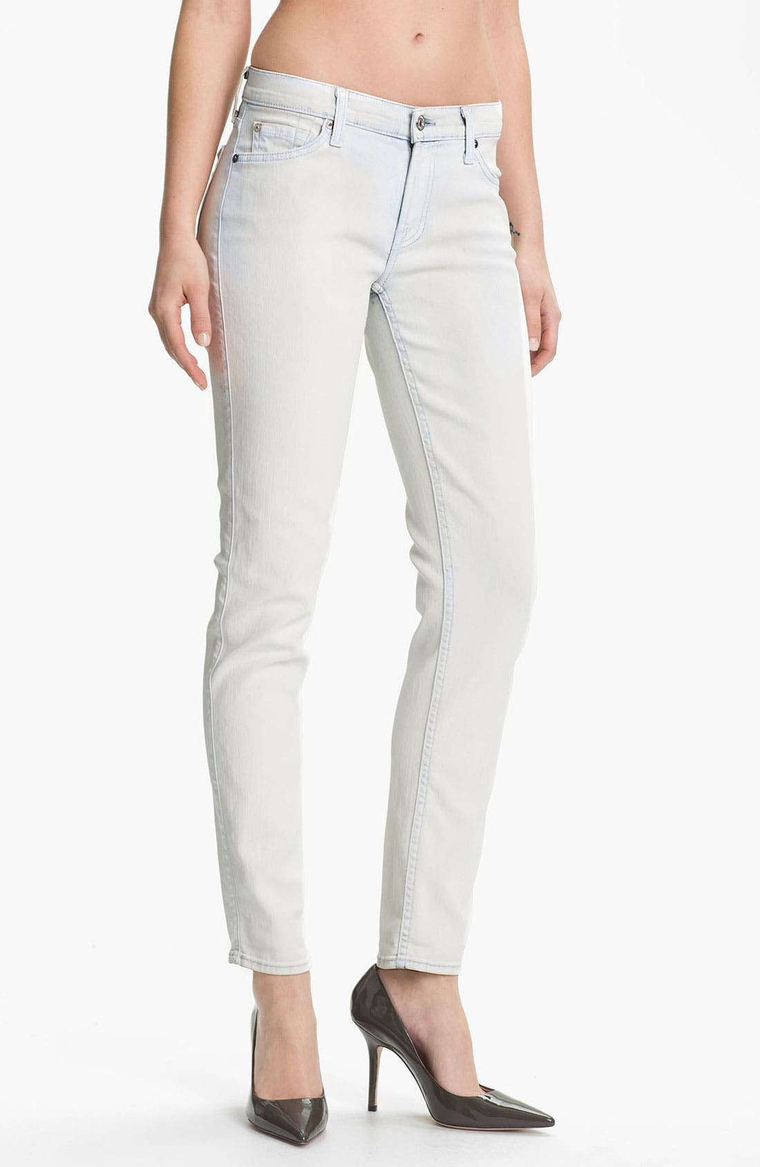 Main Image - 7 For All Mankind® 'The Slim Cigarette' Coated Stretch Jeans (White Washed Denim)