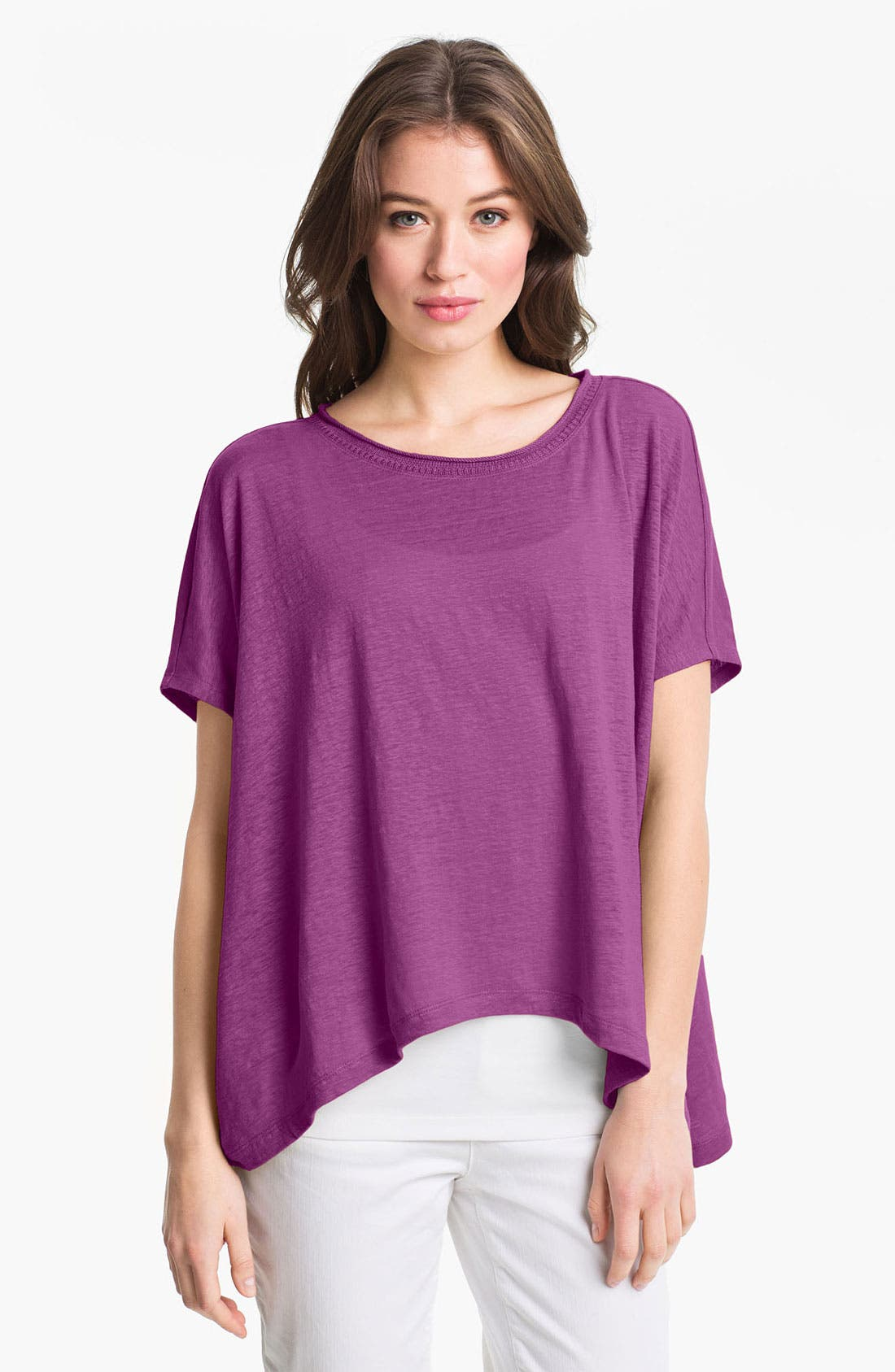 Alternate Image 1 Selected - Eileen Fisher Short Sleeve Linen Top (Online Only)