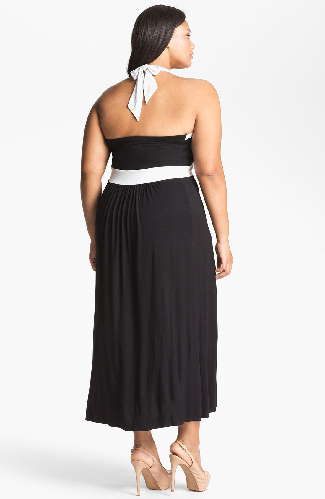 Alternate Image 2  - Calvin Klein Halter Jersey Maxi Dress (Plus Size)