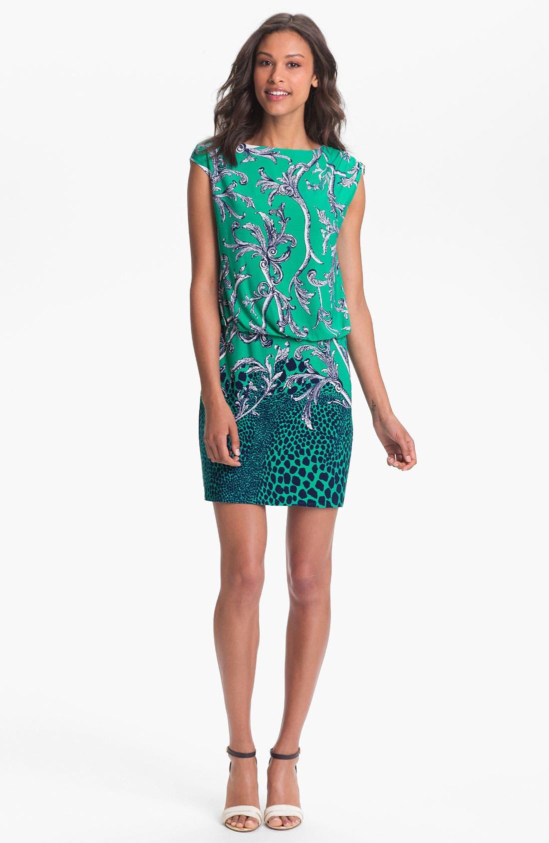 Alternate Image 1 Selected - Laundry by Shelli Segal Mix Print Jersey Blouson Dress