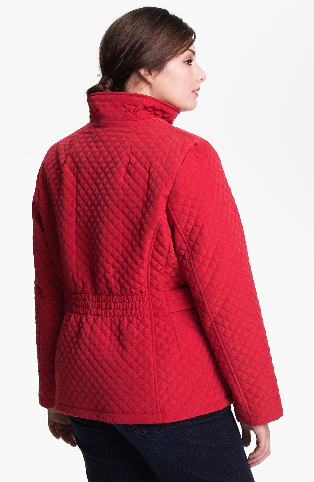 Alternate Image 2  - Gallery Zip Front Quilted Jacket (Plus Size)