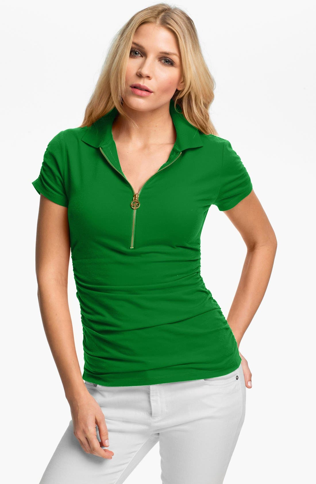 Alternate Image 1 Selected - MICHAEL Michael Kors Zip Short Sleeve Polo