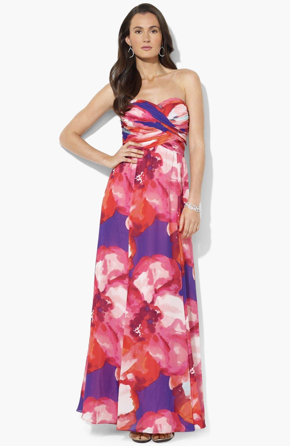 Main Image - Lauren Ralph Lauren Strapless Print Chiffon Gown