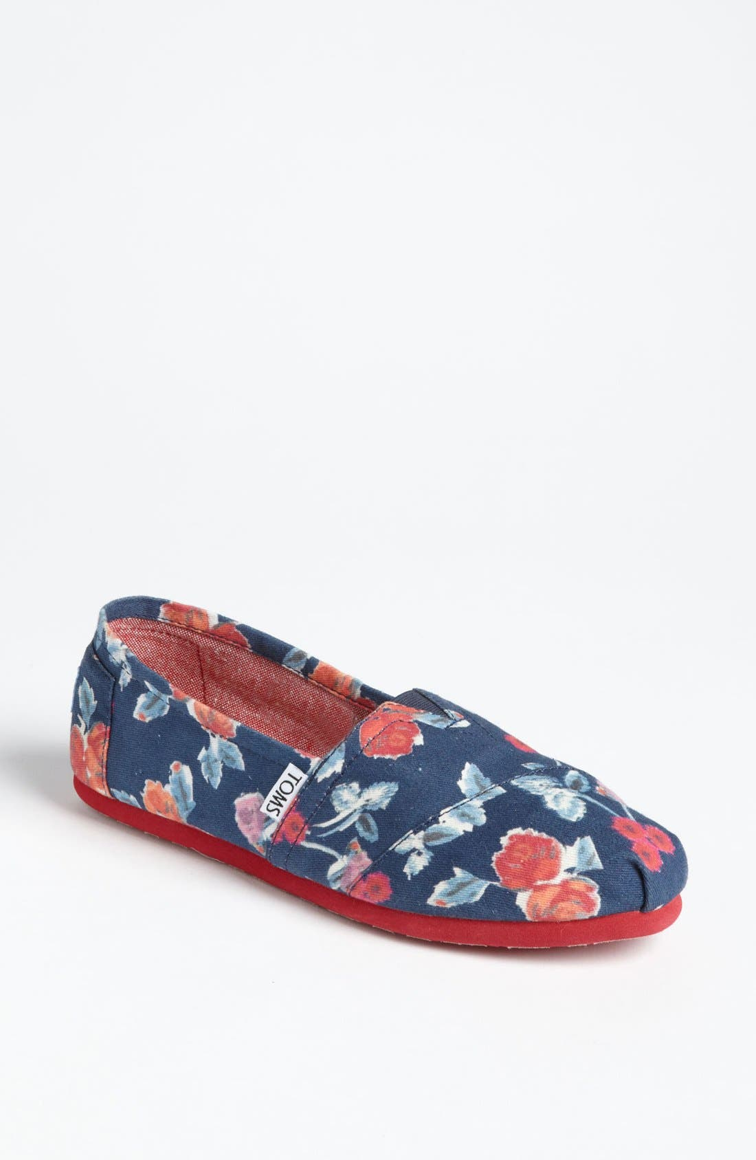 Alternate Image 1 Selected - TOMS 'Classic - Navy Floral' Slip-On (Women)