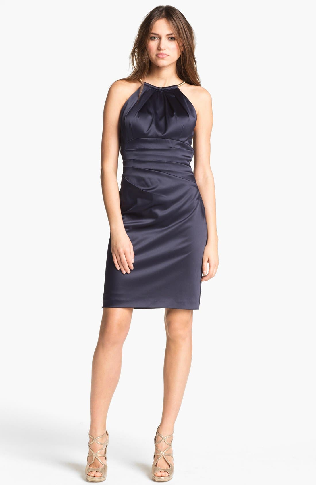 Alternate Image 2  - Eliza J Pleated Satin Sheath Dress