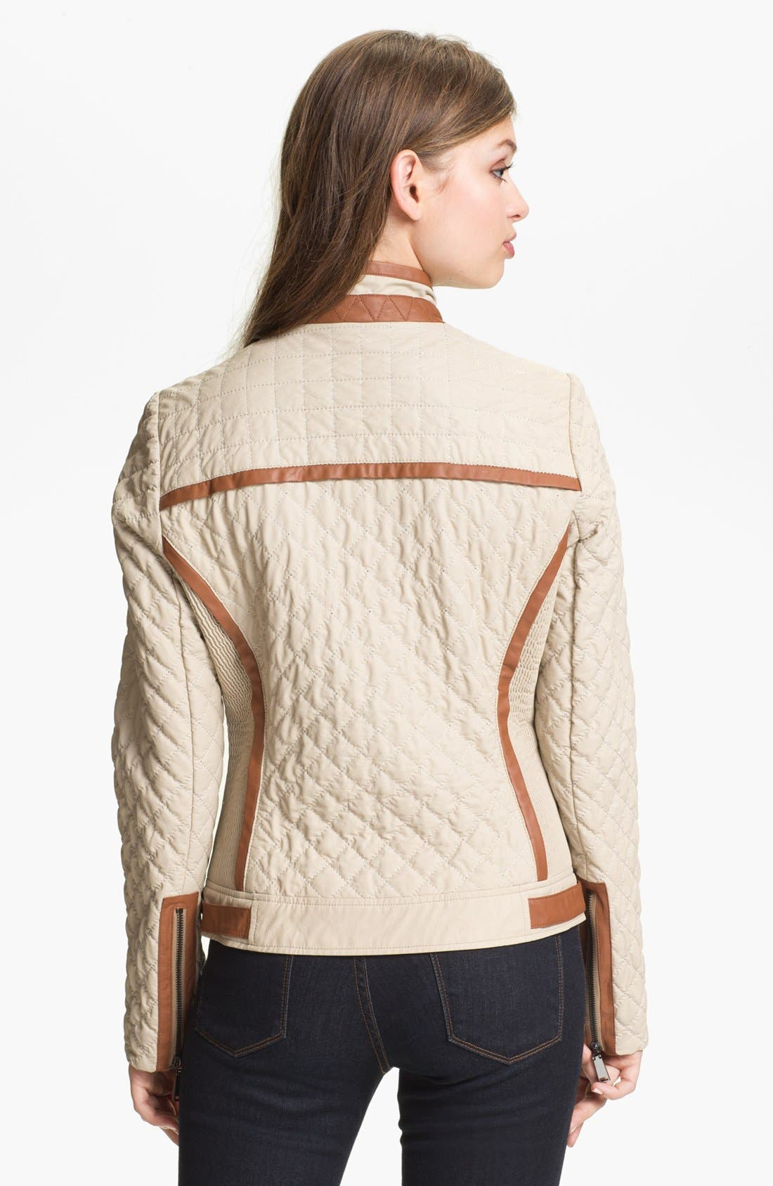 Alternate Image 2  - Via Spiga Faux Leather Trim Quilted Jacket (Online Only)