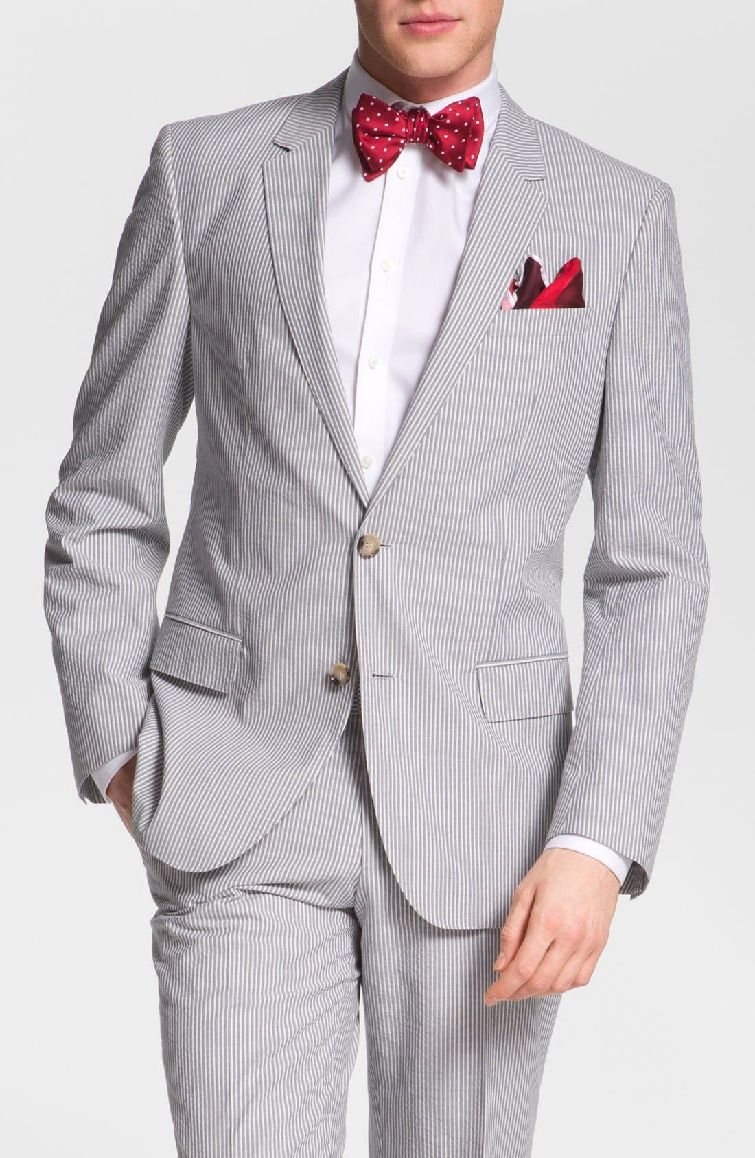 Alternate Image 1 Selected - BOSS Black 'Hedge/Gense' Trim Fit Seersucker Suit
