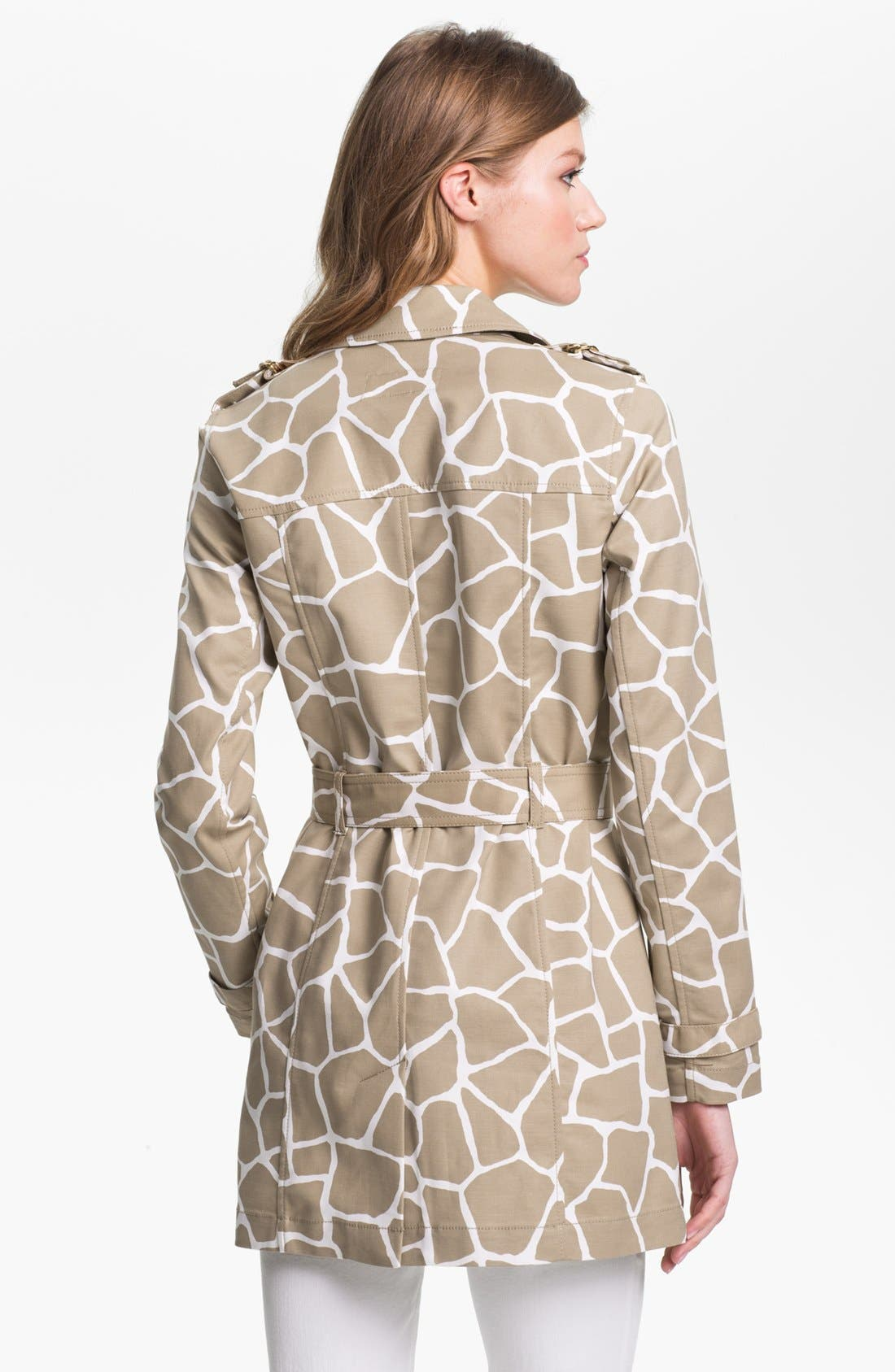 Alternate Image 2  - MICHAEL Michael Kors Giraffe Print Trench Coat (Petite)