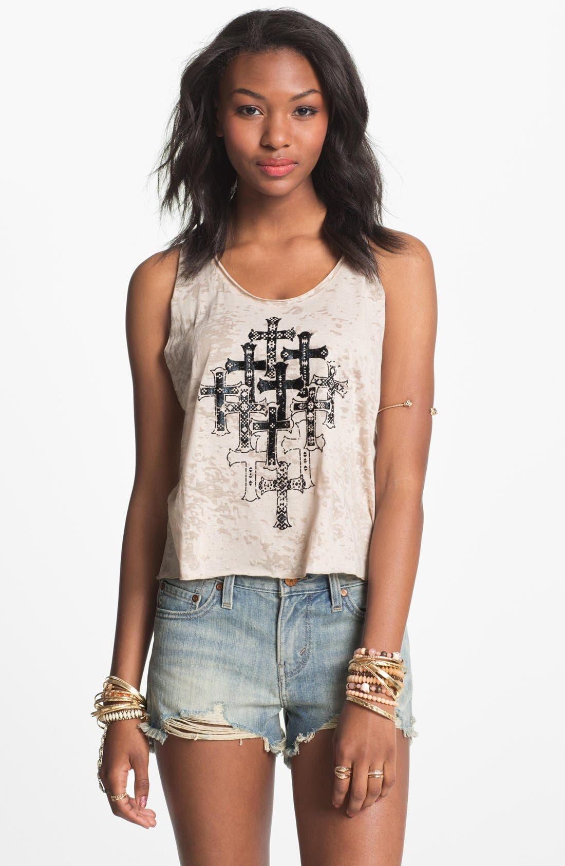 Alternate Image 1 Selected - Ten Sixty Sherman 'Puff Paint Cross' Tank (Juniors) (Online Only)