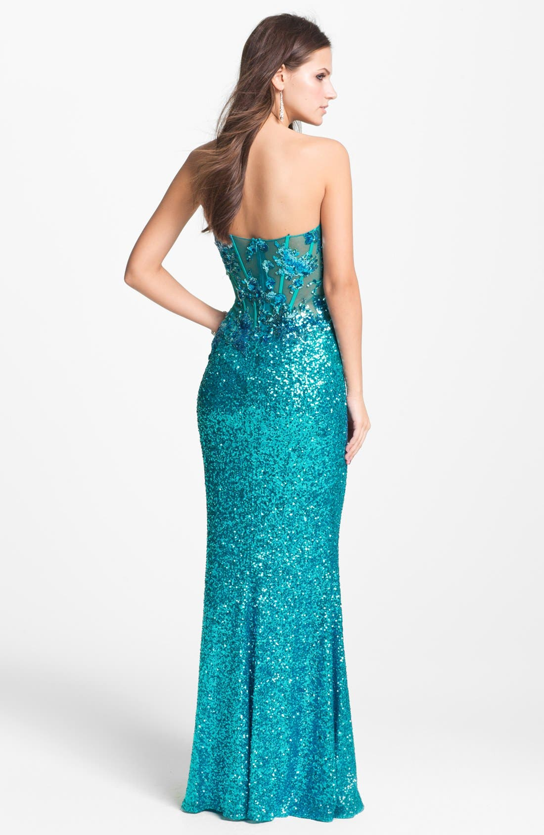Alternate Image 2  - Faviana Strapless Sequin Gown (Online Exclusive)