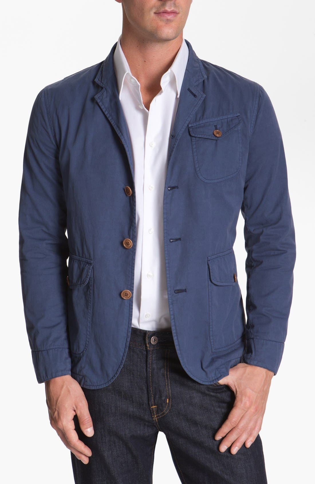 Alternate Image 1 Selected - Façonnable Tailored Denim Three Button Jacket