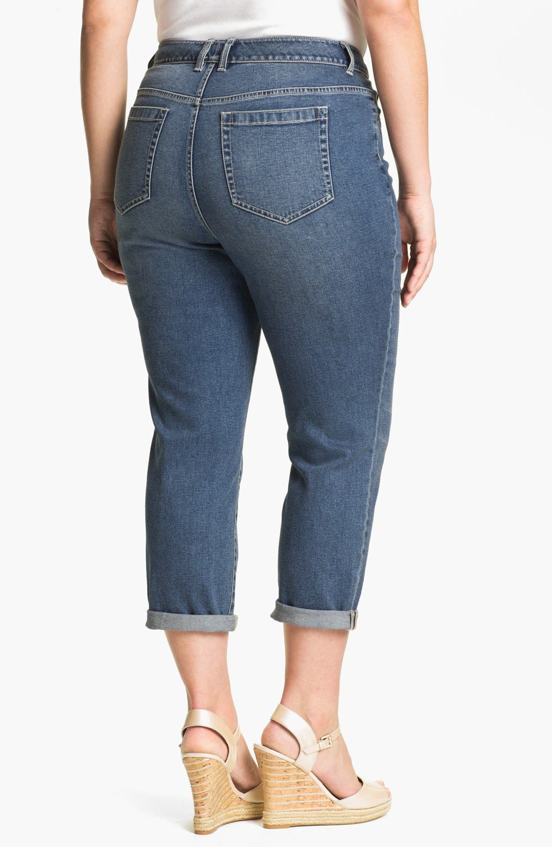 Alternate Image 2  - Two by Vince Camuto Cuffed Boyfriend Jeans (Plus Size)