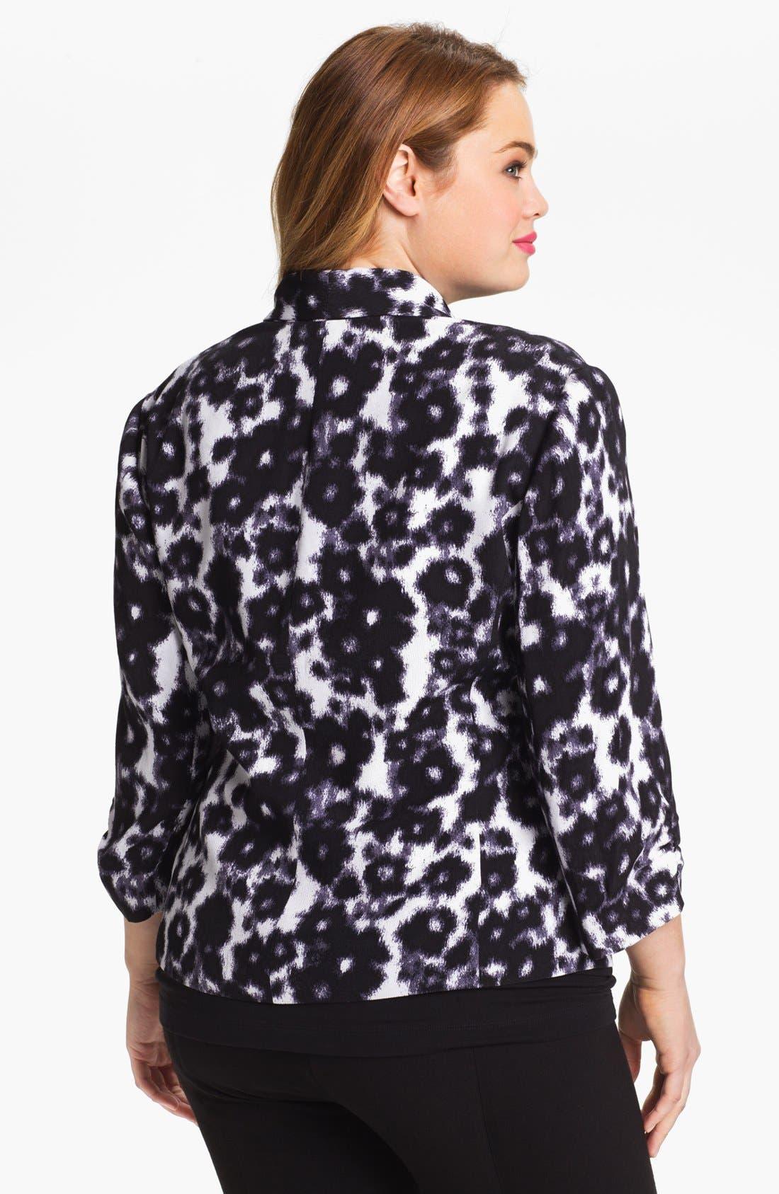Alternate Image 2  - Sejour Print Tuxedo Jacket (Plus Size)