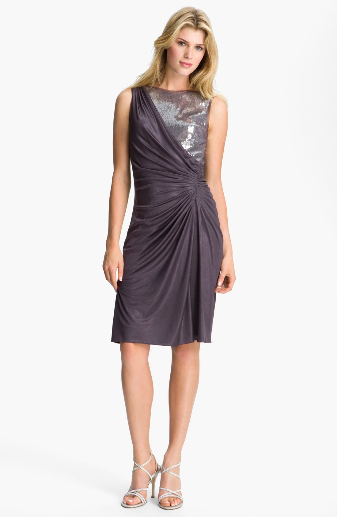 Main Image - Adrianna Papell Sequin Jersey Drape Dress (Petite)