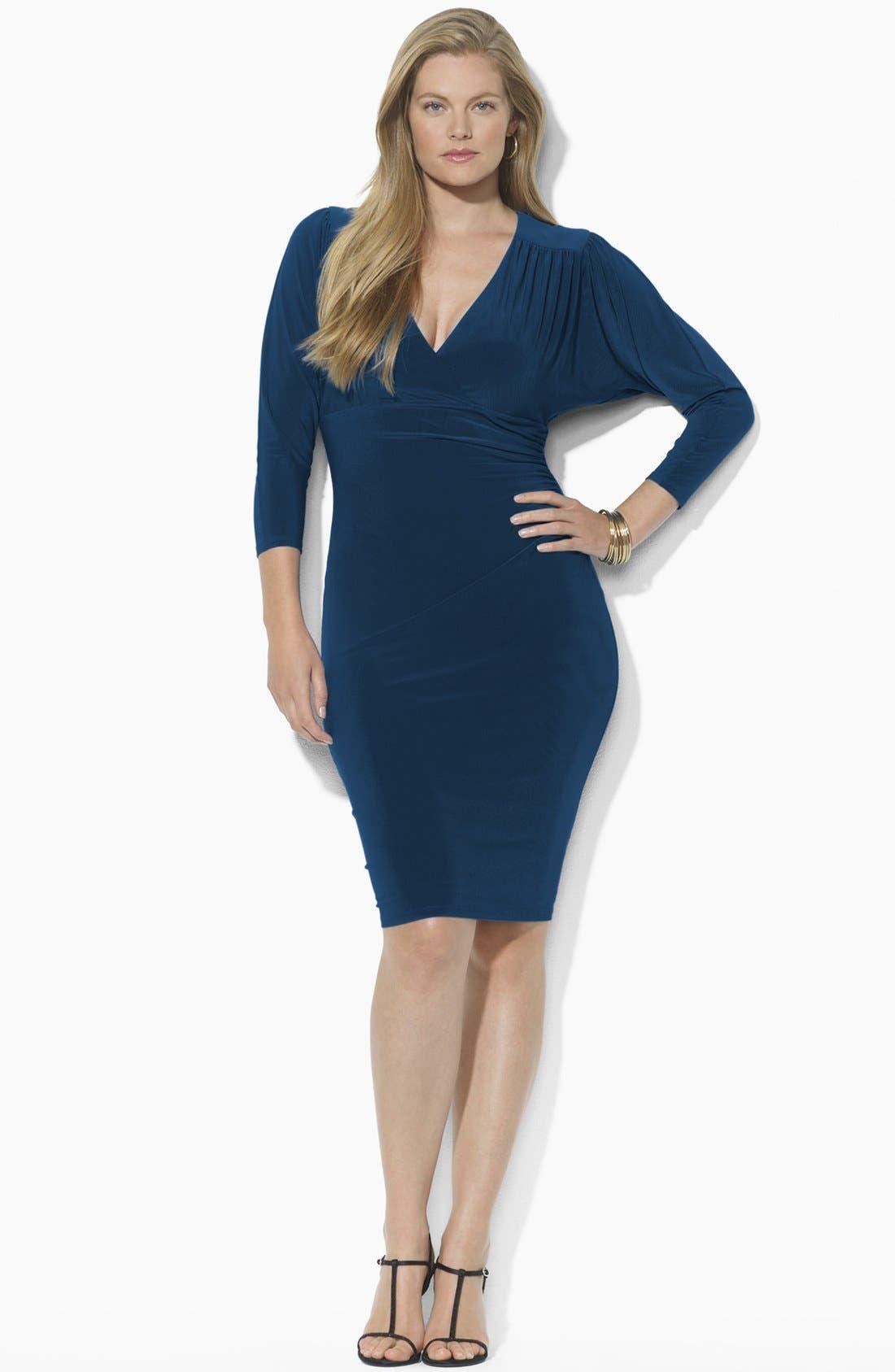 Main Image - Lauren Ralph Lauren Draped Jersey Dress (Plus) (Online Only)